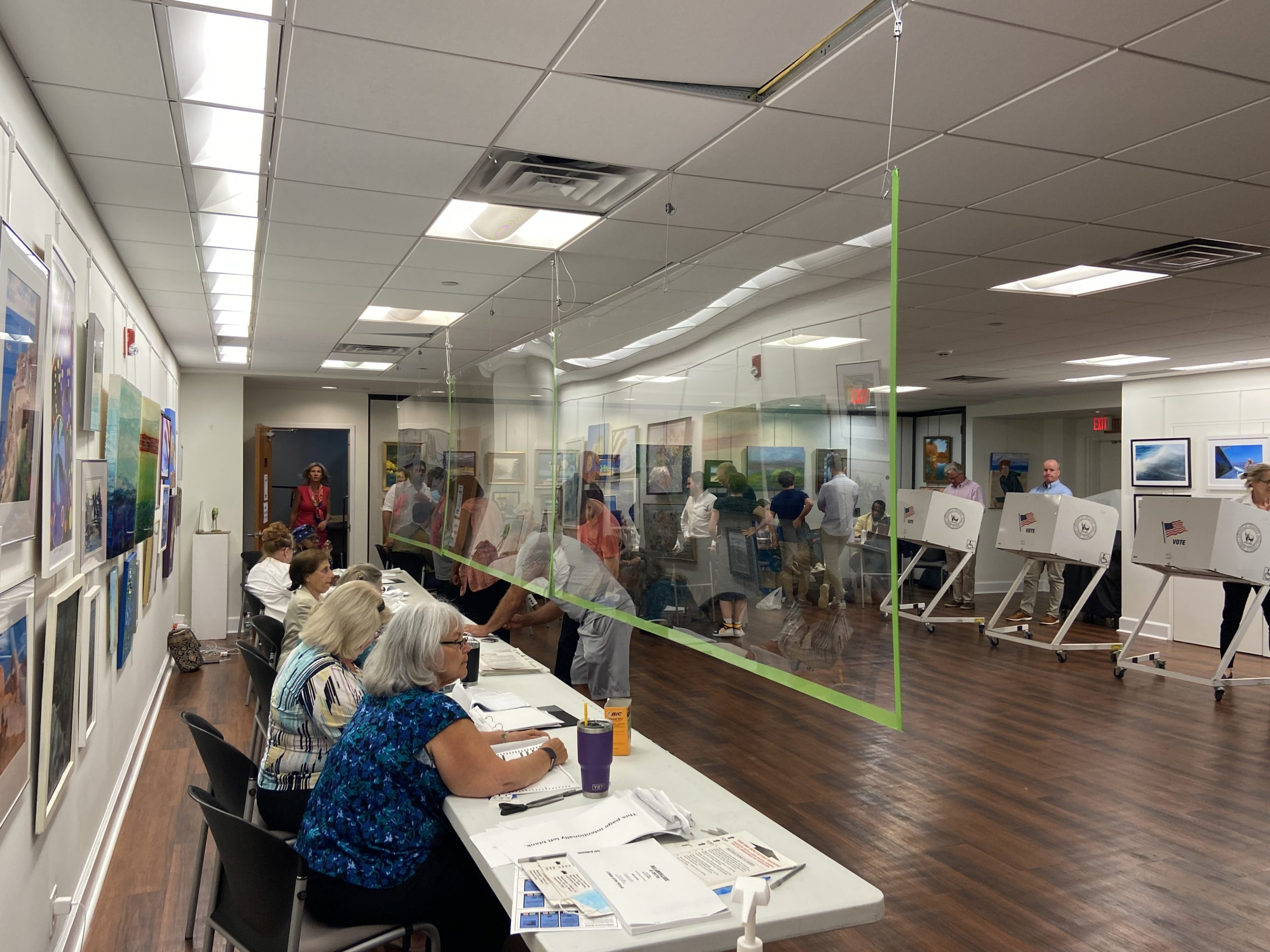 The scene at the Southampton Cultural Center Friday as Southampton Village residents vote in the village election. ZOE KAVA