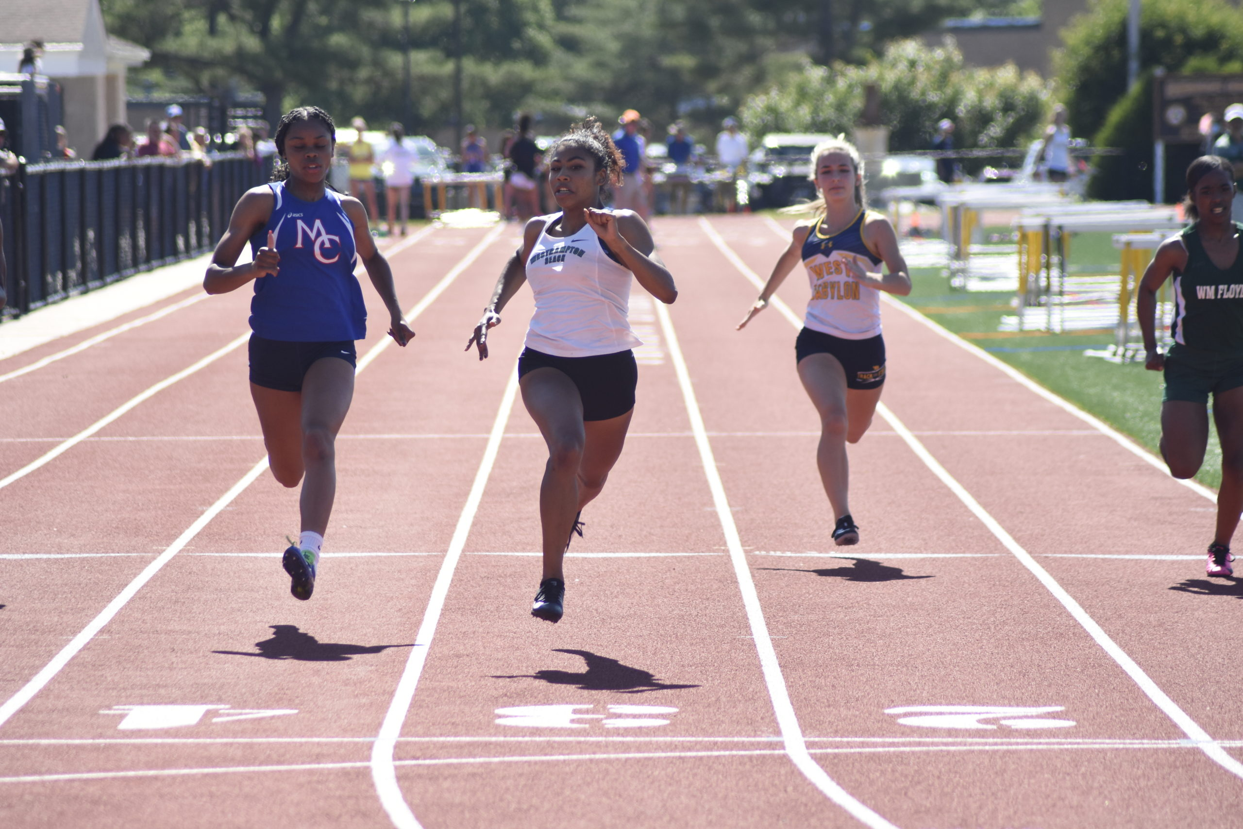 Westhampton Beach senior Oceane Ode was a double champion in both the 100- and 200-meter dashes.