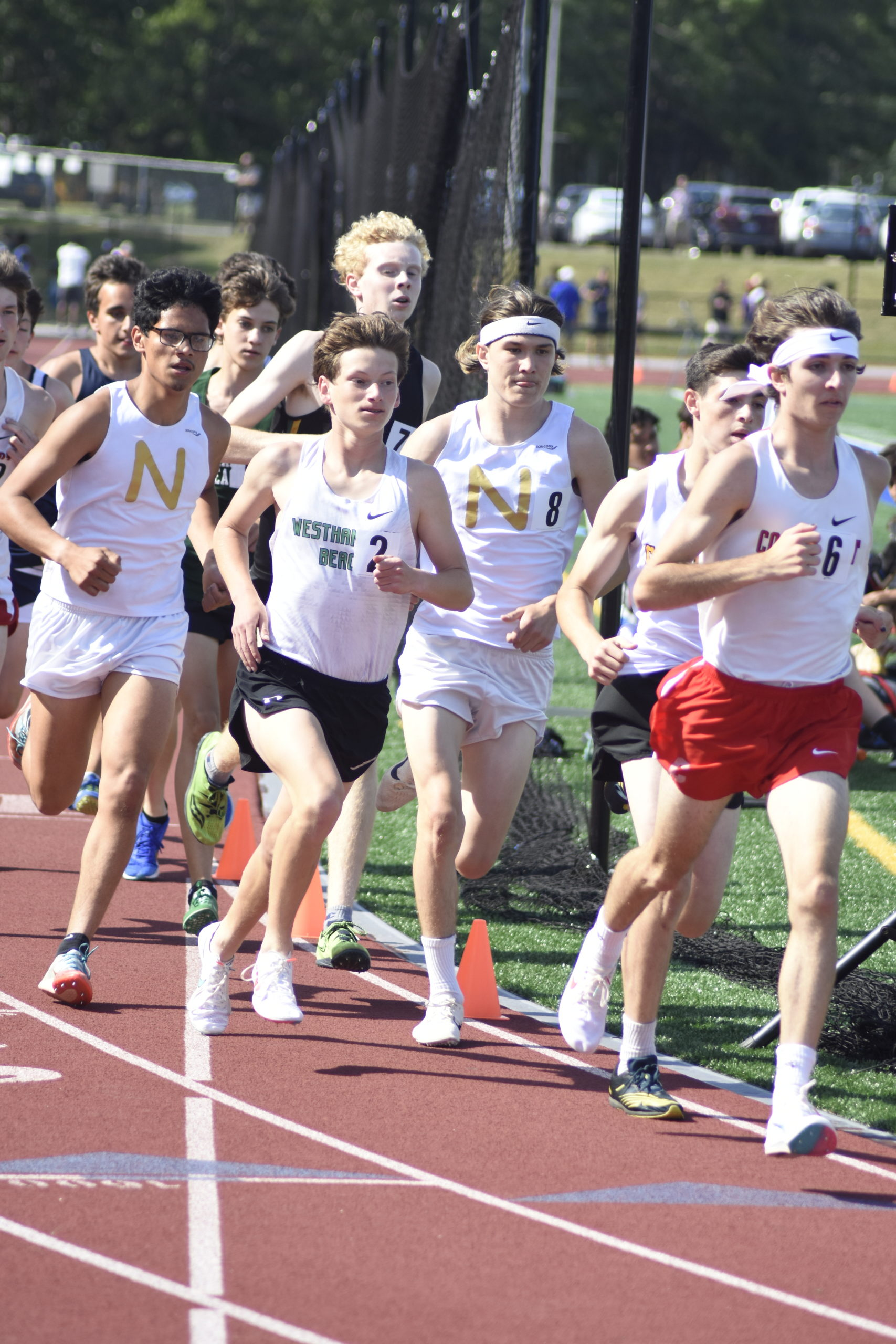 Westhampton Beach sophomore Maximus Haynia at the start of the 3,200-meter race, which he won.