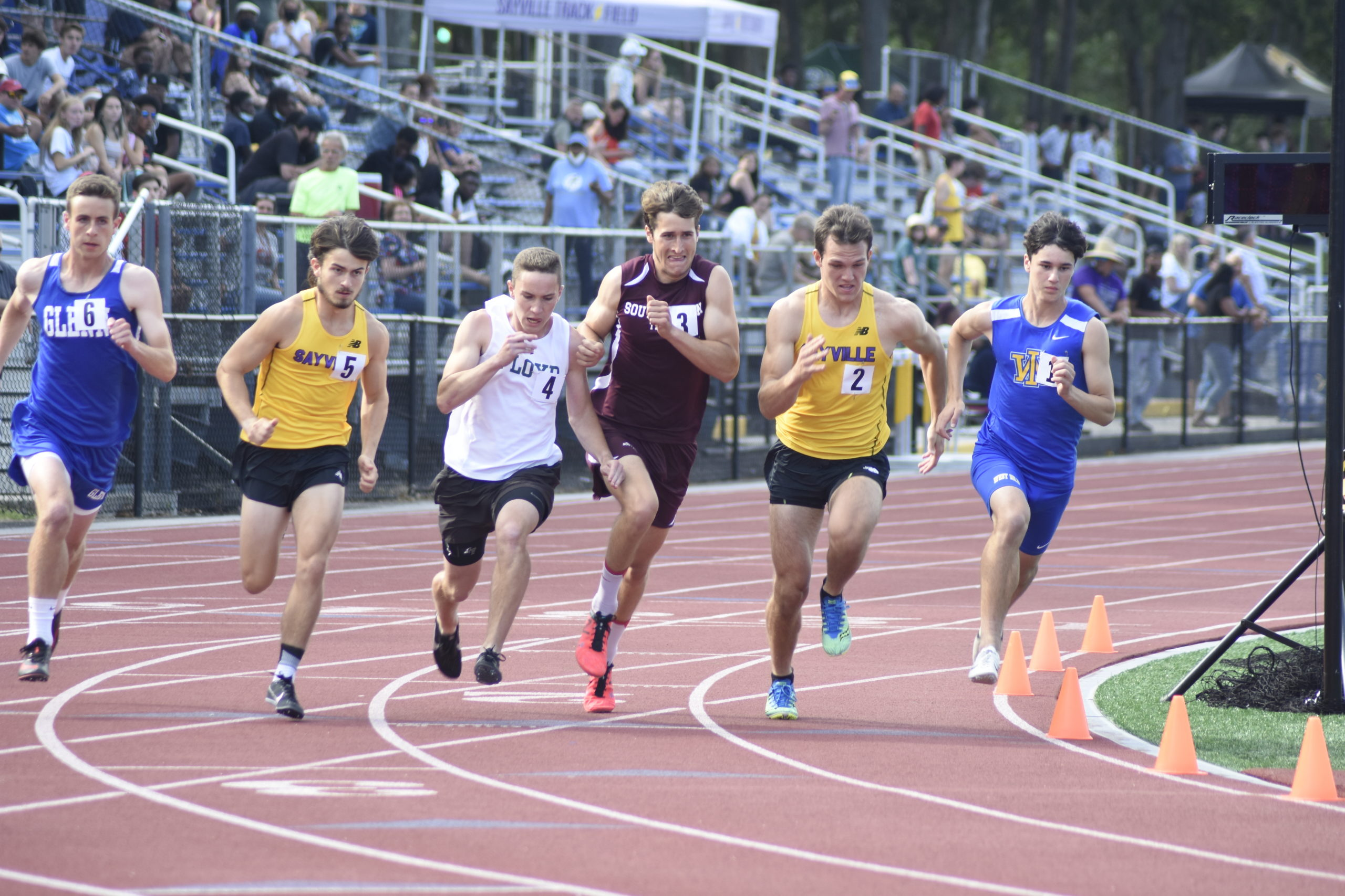 Southampton junior Billy Malone at the start of the 800-meter run.