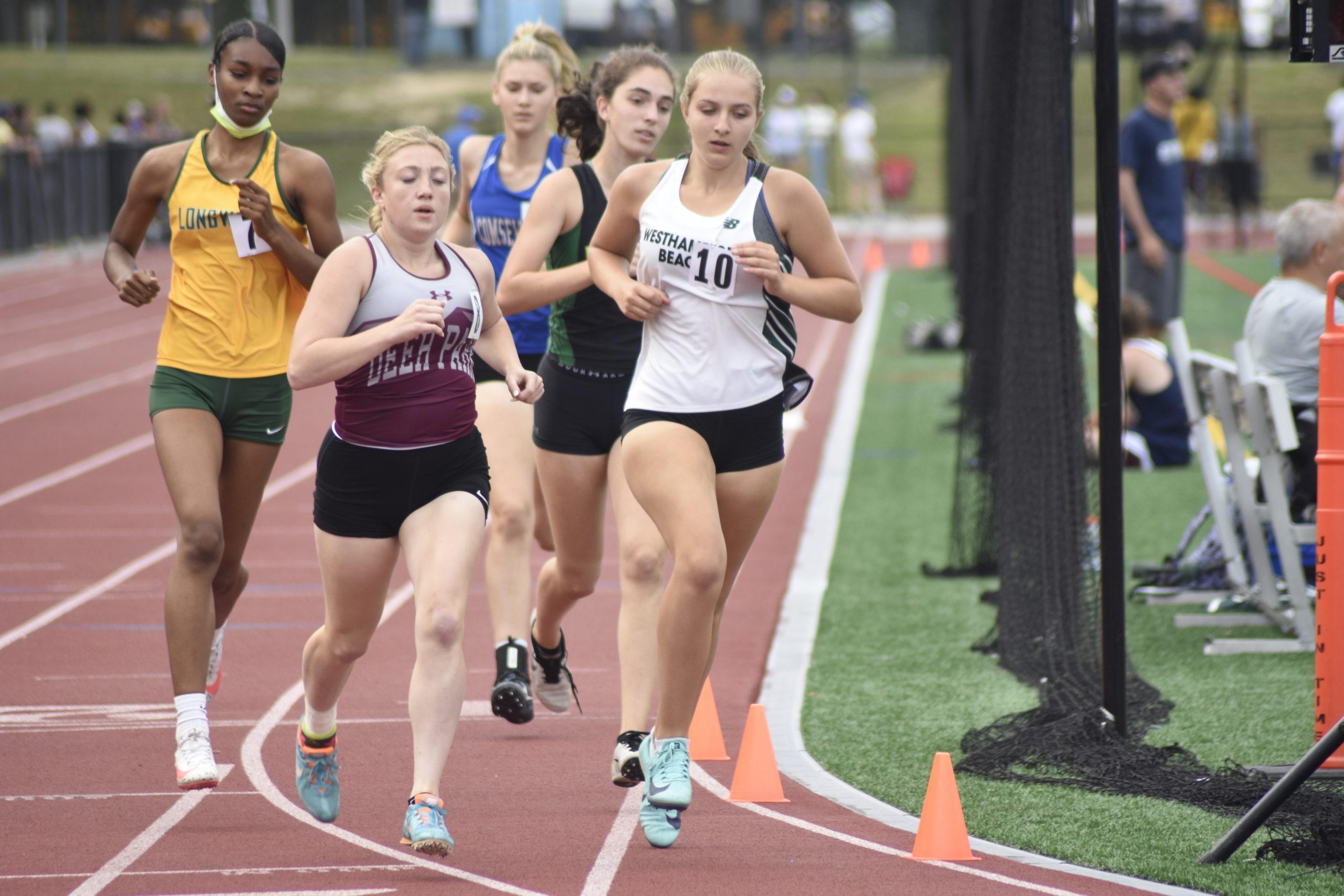 Westhampton Beach freshman Madison Phillips in the 800-meter run portion of the pentathlon.