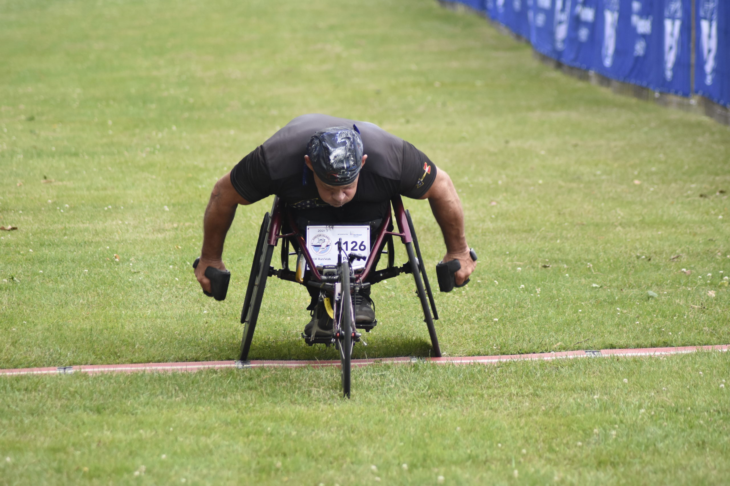 Peter Hawkins, 57, of Malverne was once again the champion of the wheelchair division.