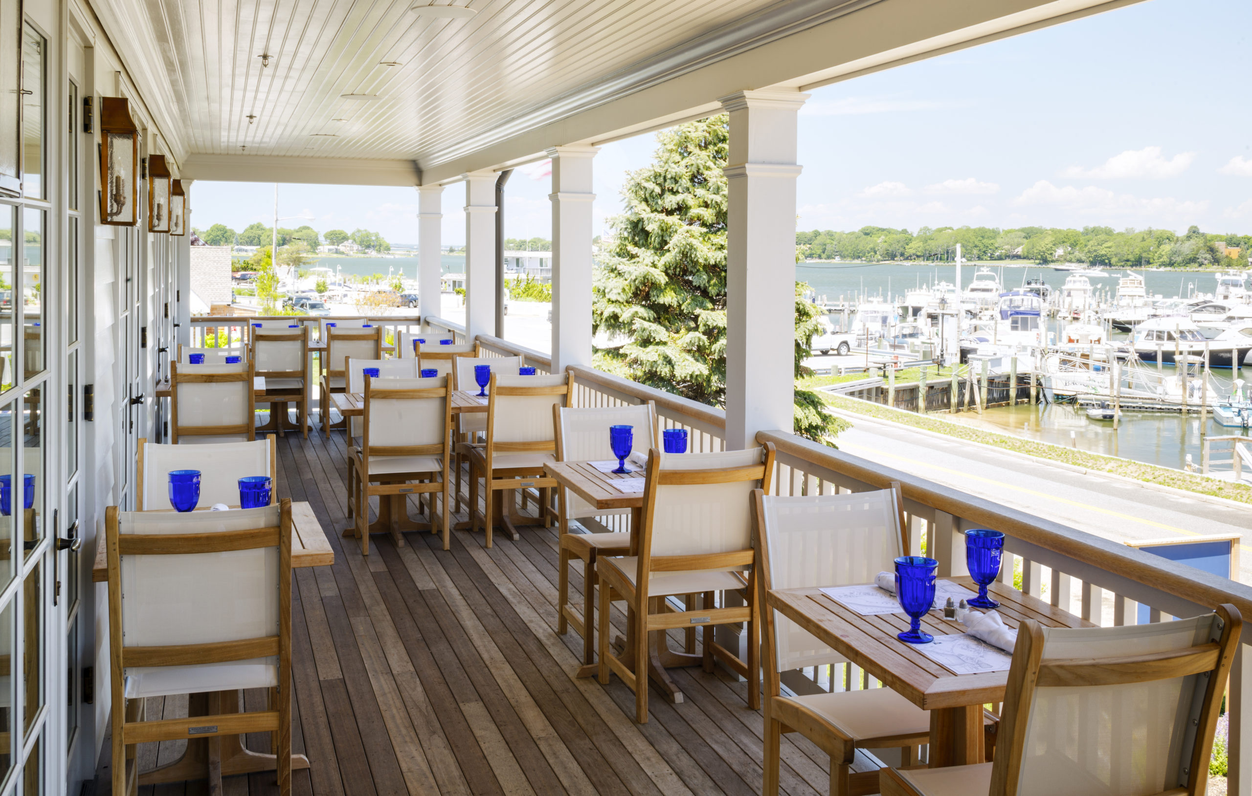 Dining with a view from the upper porch of Baron's Cove.