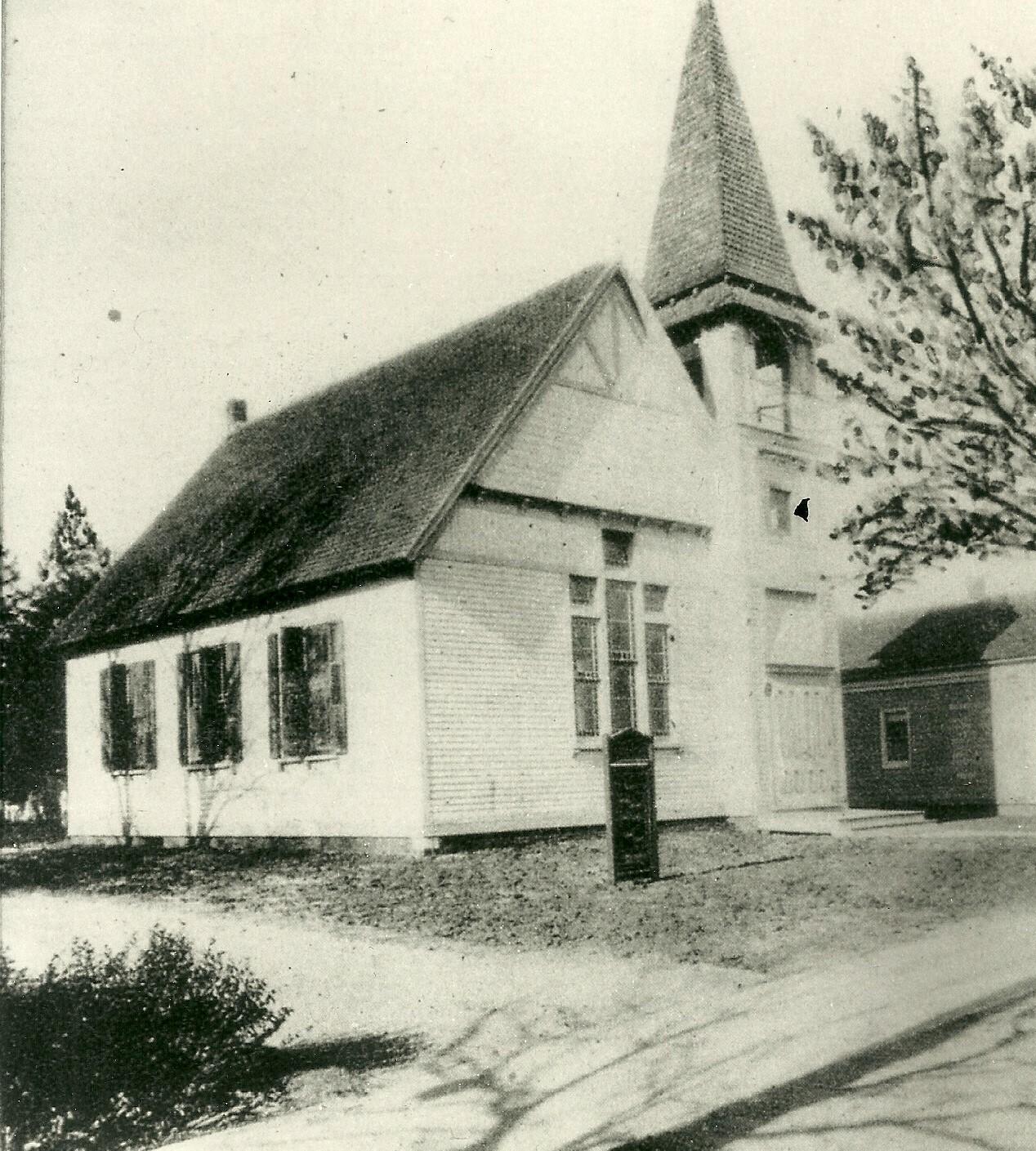 Originally the Methodist Episcopal Church, the circa-1882 building still stands today.