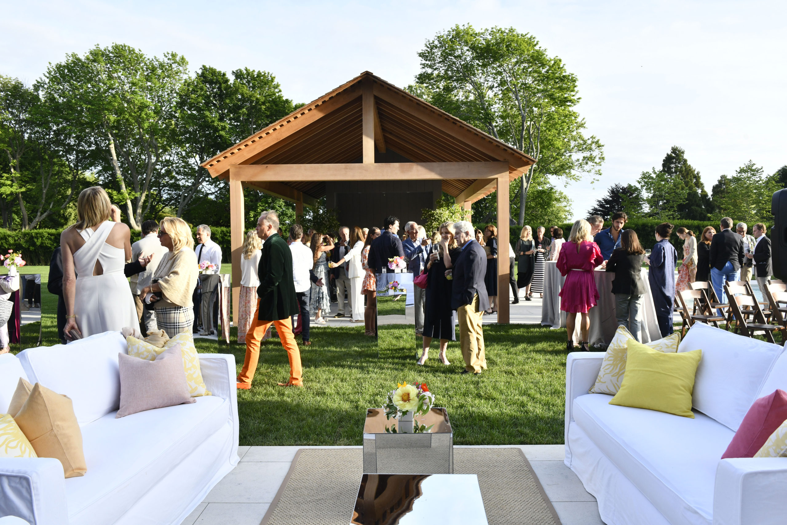 Local and celebrity guest, like, Brooke Shields, left, at the event at the newly restored Grosvenor Atterbury Estate in Southampton Village on June 12.  DANA SHAW