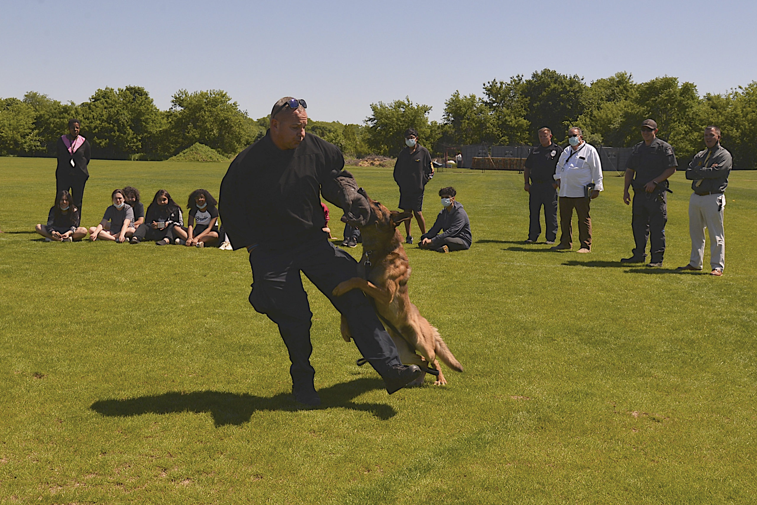 Kindergarten though 8th grade students at the Bridgehampton School got a visit from the Southampton Town Police Department, the Suffolk County Police helicopter and the Southampton Town Police  K9 unit on June 16.  KYRIL BROMLEY