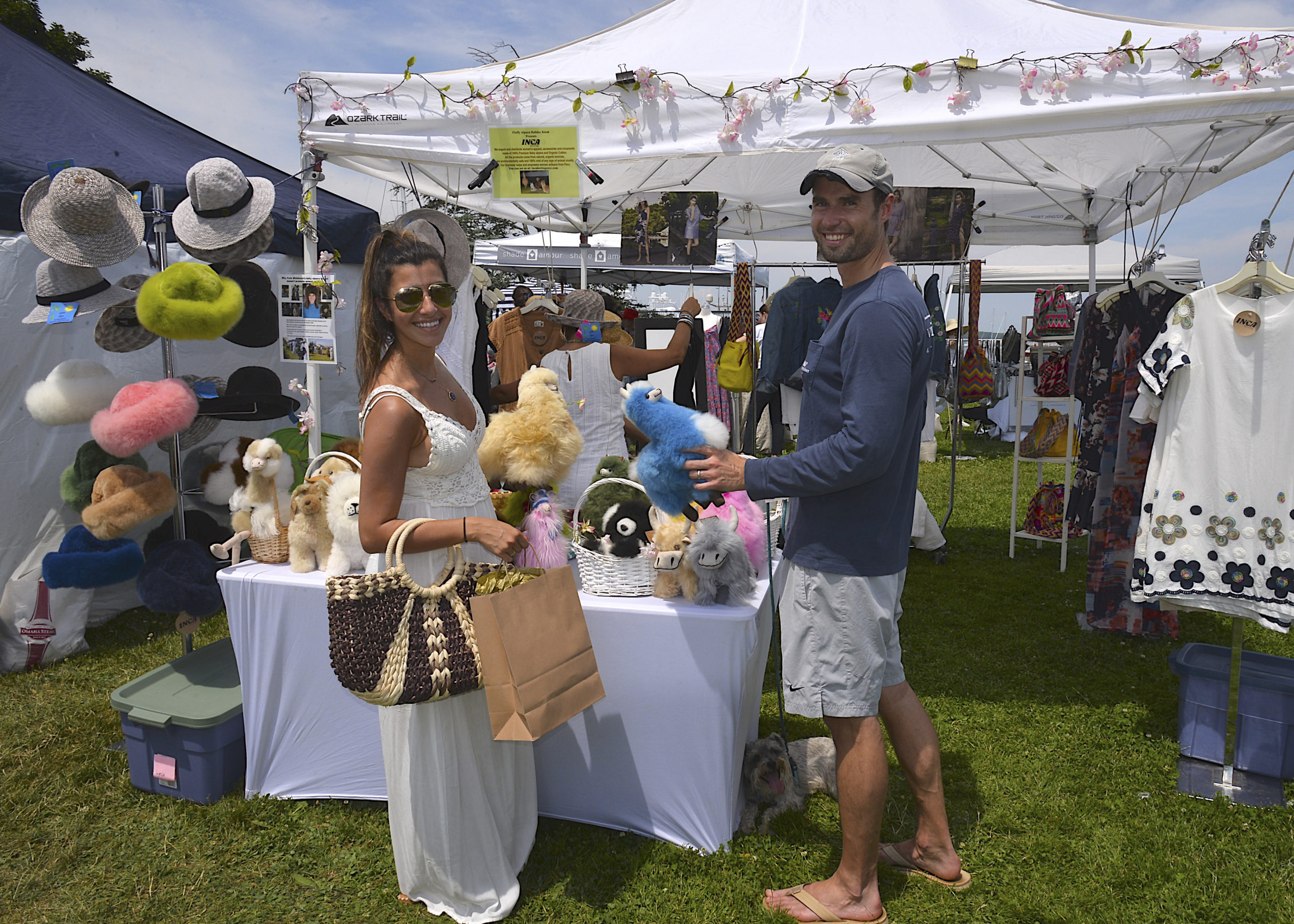 Elle and Chris Petrie at the Sag Harbor Arts and Crafts Fair in Marine Park on Saturday. KYRIL BROMELY