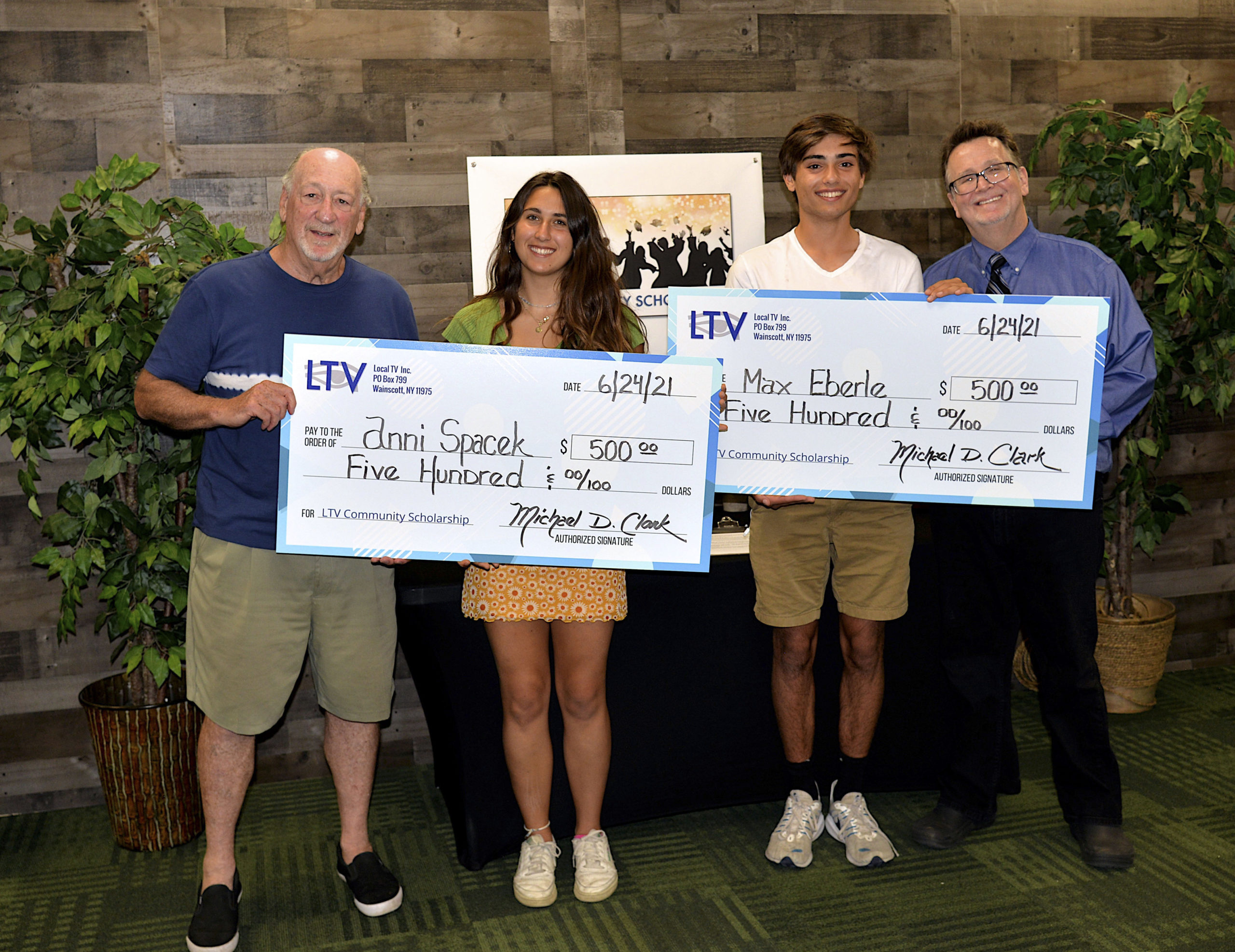LTV presented $500  scholarships to East Hampton students  Anni Spacek and Max Eberle on June 24. The LTV Community Scholarship is presented to students with a passion for community media, lifelong learning, and free speech and  who are pursuing an education in film, television, broadcasting or radio.  With the students are  LTV Chairman Jon Olken and Michael Clarke.   KYRIL BROMLEY