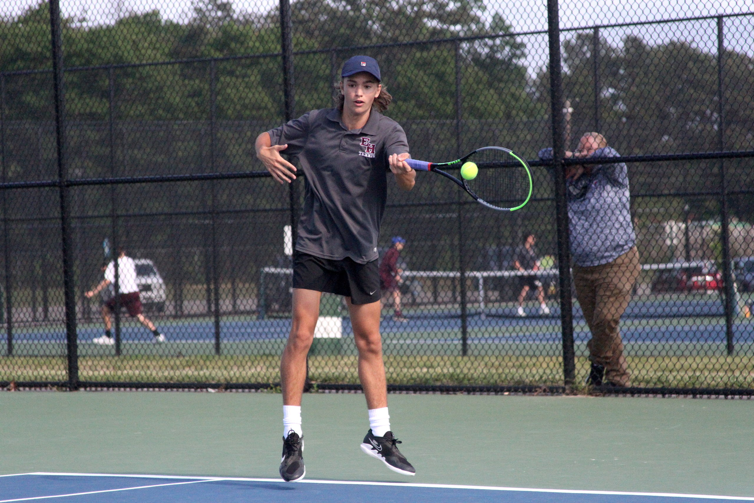 East Hampton sophomore Max Astilean keeps the volley going in his Division IV finals match. DESIRÉE KEEGAN