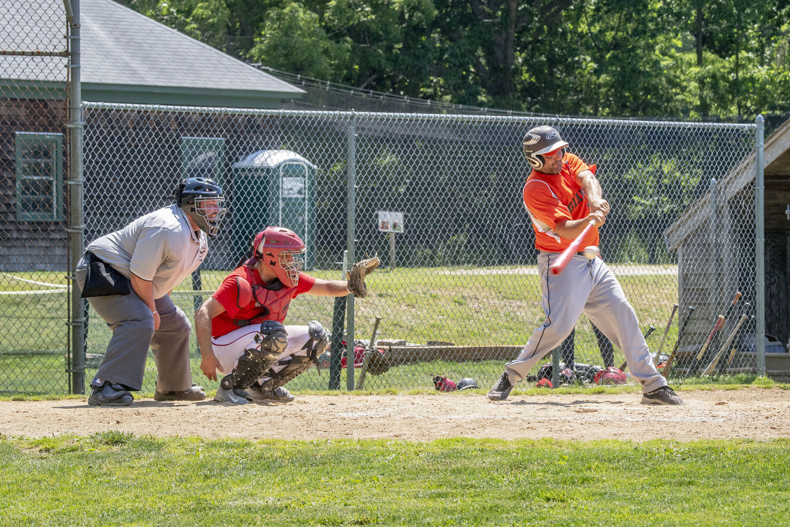 Hamptons Adult Hardball League South Fork Giants took on the New York Reds during the league's inaugural game at Mashashimuet Park in Sag Harbor on Sunday.