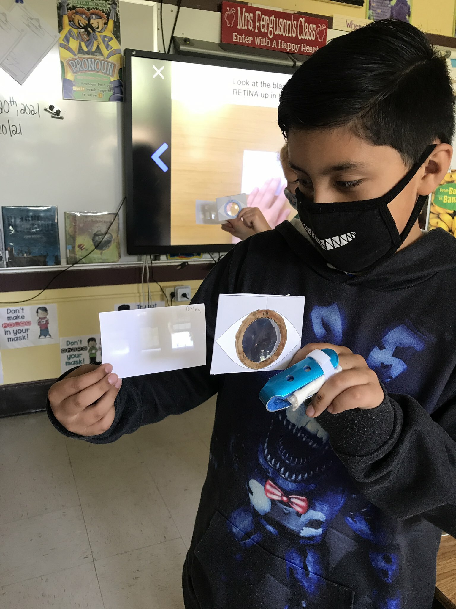 Hampton Bays Elementary School fourth graders explored how eyes work through a science, technology, engineering and math lesson. As part of the STEM unit, the students created model lenses and retinas. They were amazed that they were able to see images refracted from their models.