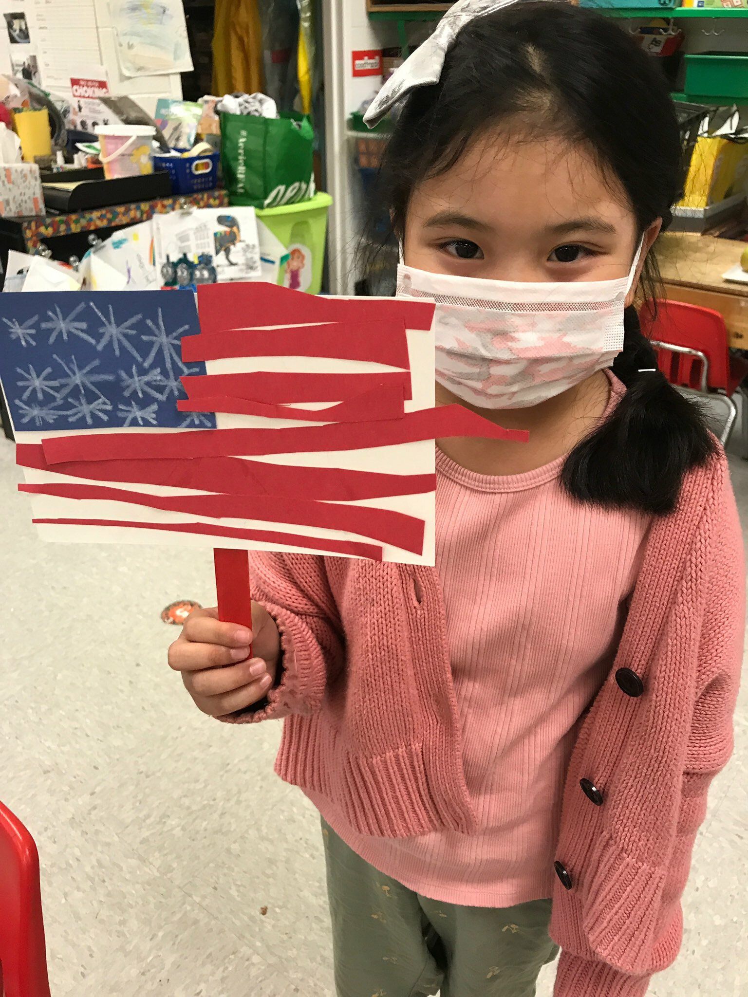 Hampton Bays Elementary School students celebrated Flag Day on June 14 with a variety of activities. Kindergartners in June Eaton's class, for example, learned more about the American flag and created their own paper flags.