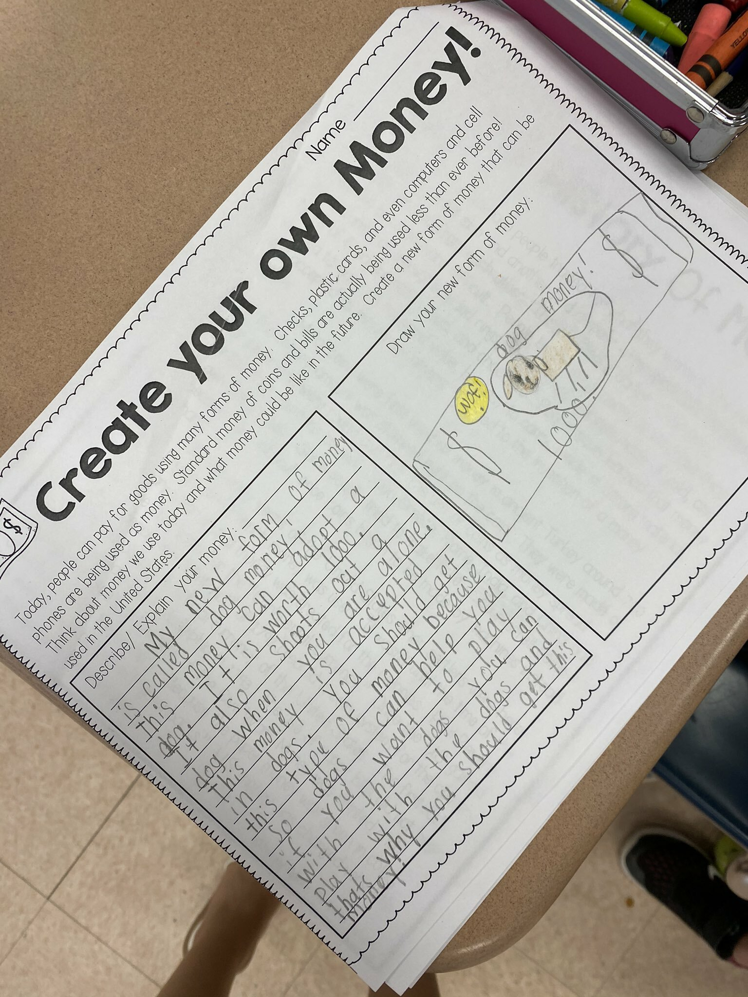Claire Urizzo's third grade class at Hampton Bays Elementary School recently learned about the U.S. economy and the history of money. They culminated the lesson by designing their own money and writing about how it can be used. They imagined their own dog money, unicorn money and even chocolate money.