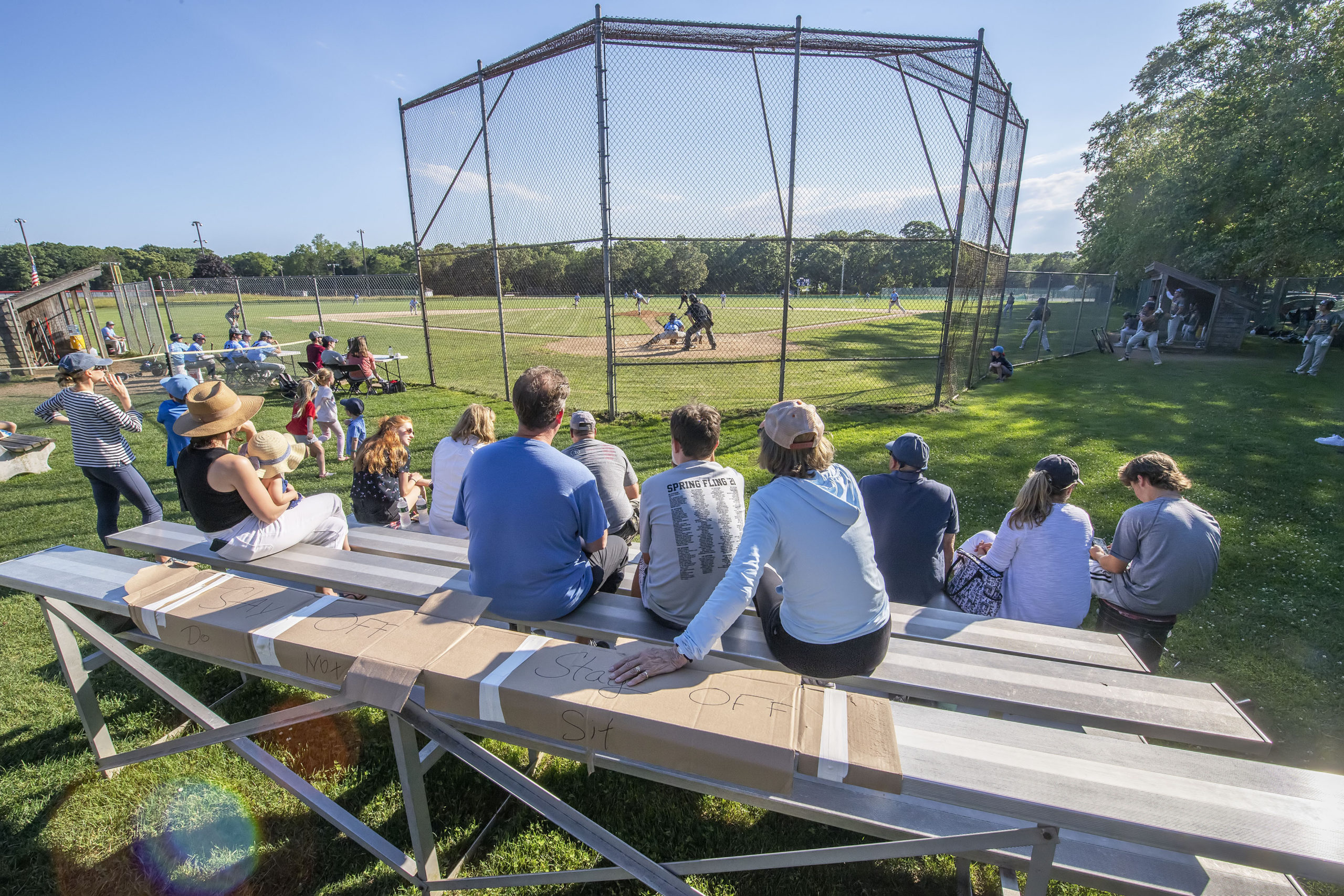 Fans watch as the Sag Harbor Whalers hosted the North Fork Ospreys at Mashashimuet Park on the opening day of the Hamptons Collegiate Baseball League this past Tuesday, June 15.