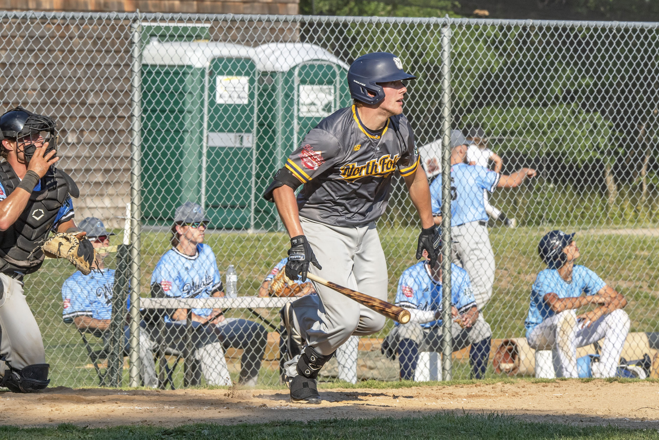 Osprey Kyle Lyons heads for first after getting a hit.