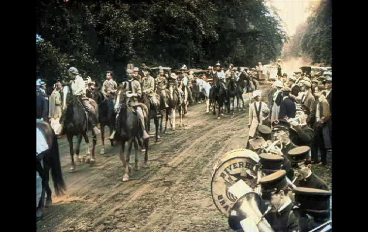 Horses on parade in Pathé News newsreel of East Hampton's Fourth of July parade in 1915.