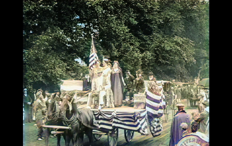 Hamptons Liberty Float in Pathé News newsreel of East Hampton's 1915 Fourth of July parade.