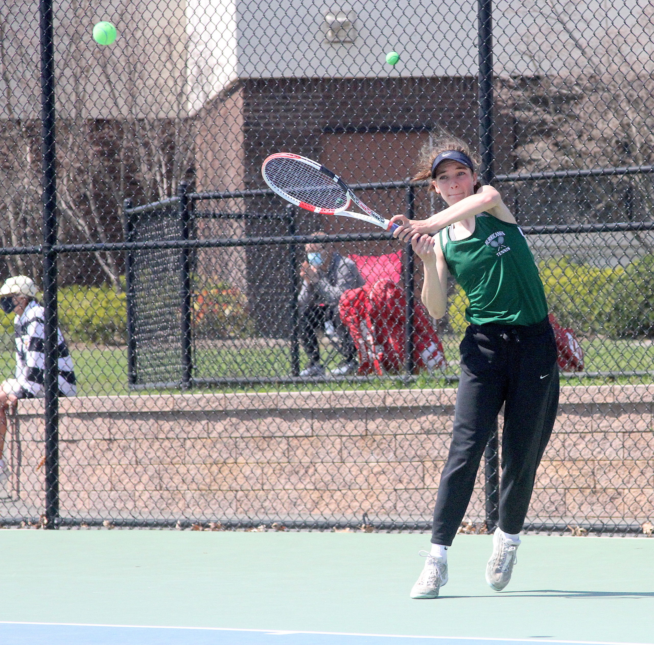 Westhampton Beach rising senior Rose Hayes keeps a volley going.