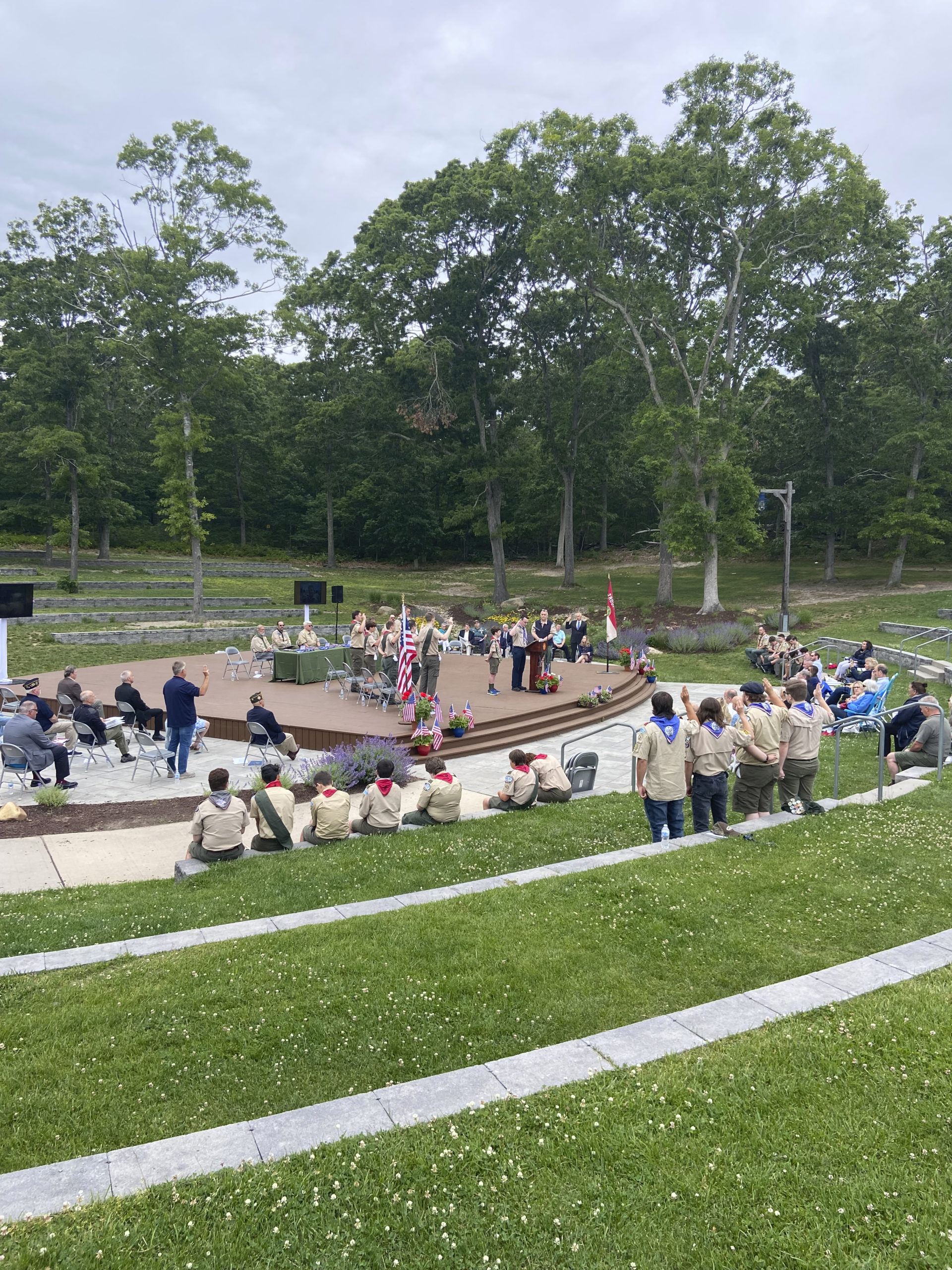 Five Hampton Bays Scouts attained the rank of Eagle Scout on Saturday at a ceremony in Good Ground Park.    ZOE KAVA