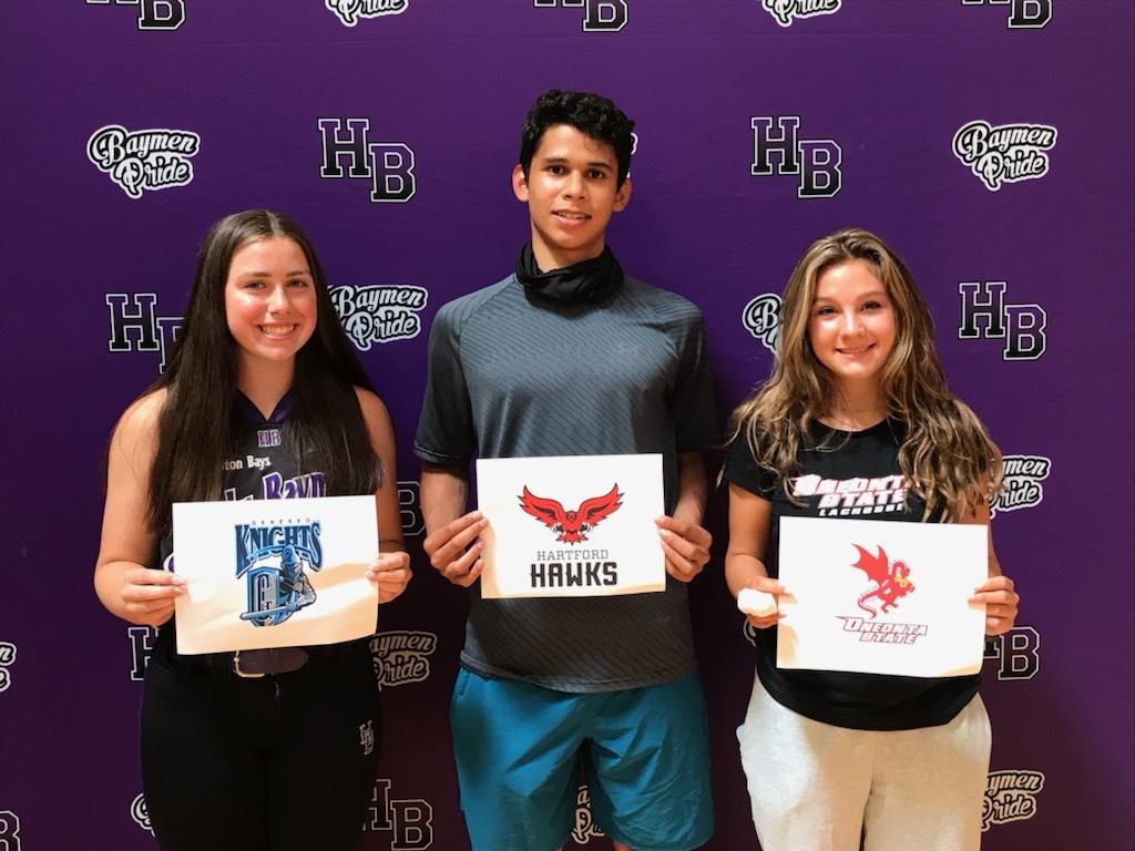 Hampton Bays student-athletes, from left, Tara Brochu (SUNY Geneseo-softball), Darwin Fernandez (Hartford-track and field) and Cassidy Moore (SUNY Oneonta-lacrosse).