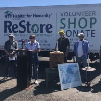 Habitat for Humanity CEO Lee Silberman, Southampton Town Councilwoman Julie Lofstad, Environmental facilities Manager Ed Thompson, Richard Casabianca,  and Restore donations Manager Courtney Collins at the program's inaugural day at the North Sea Transfer Station. COURTESY SOUTHAMPTON TOWN
