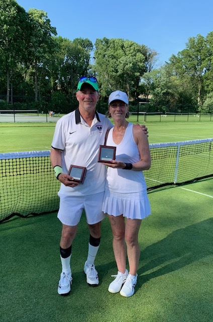 Husband and wife duo Steve Geller and Susan Smith of East Quogue won the National Husband-Wife Grass Court Tournament in Providence, Rhode Island and captured the gold ball in the 100s and the bronze ball in the 120s.