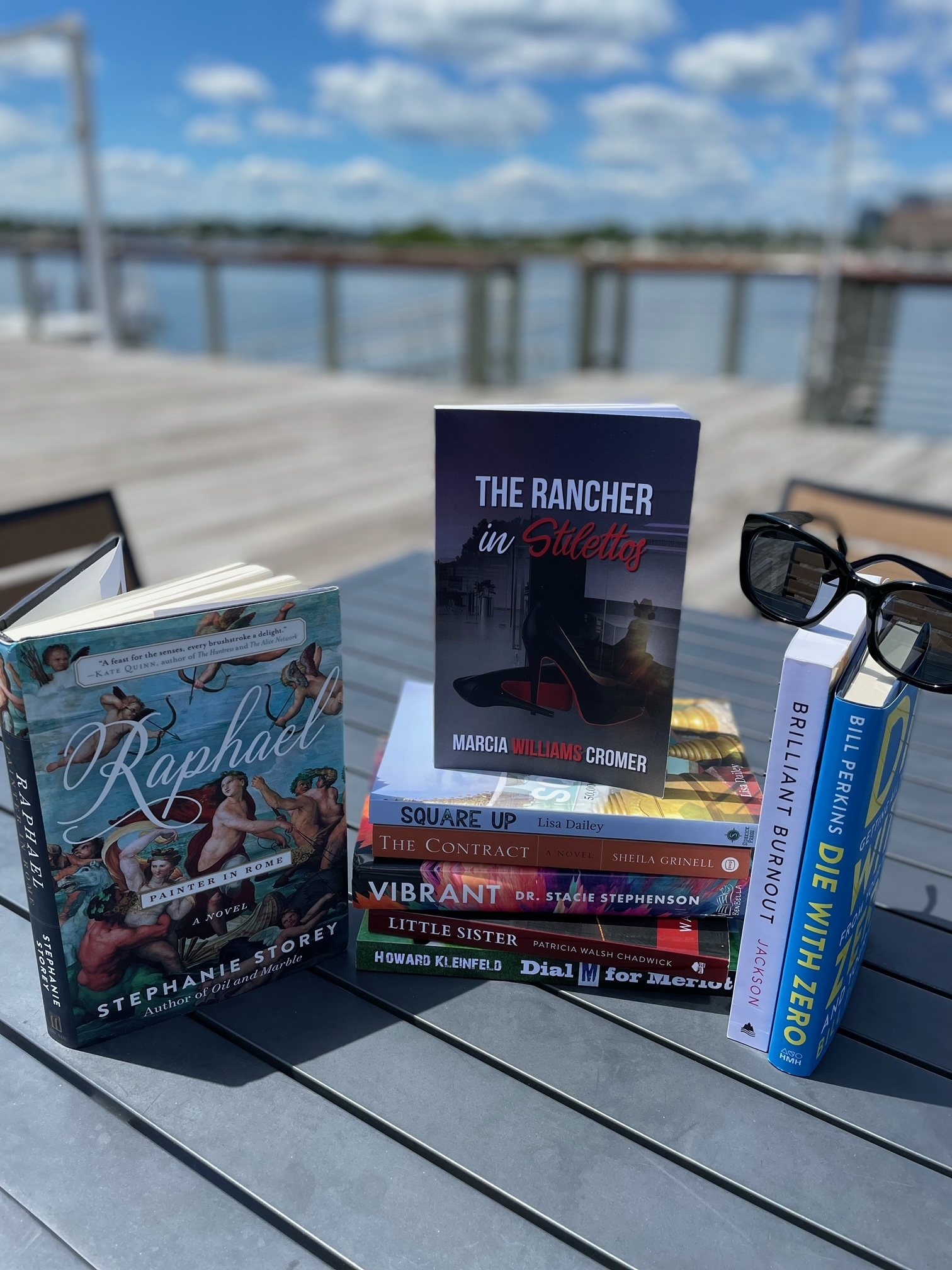 The collection of books being distributed to South Fork inns by Bedside Reading over July 4th weekend.