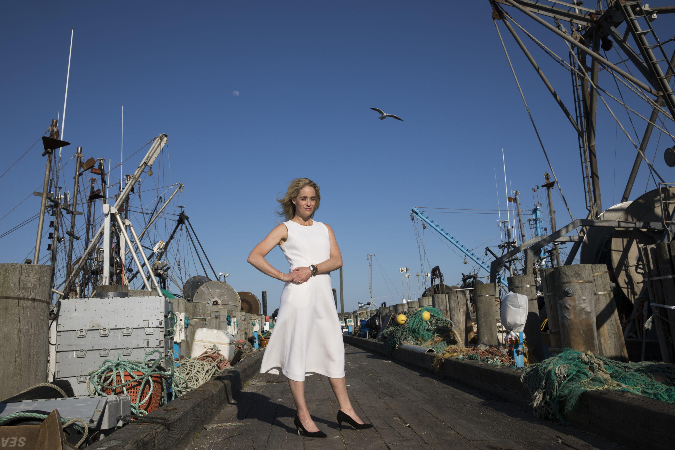 Amanda Fairbanks at the commercial fishing docks in Montauk. Lori Hawkins photo