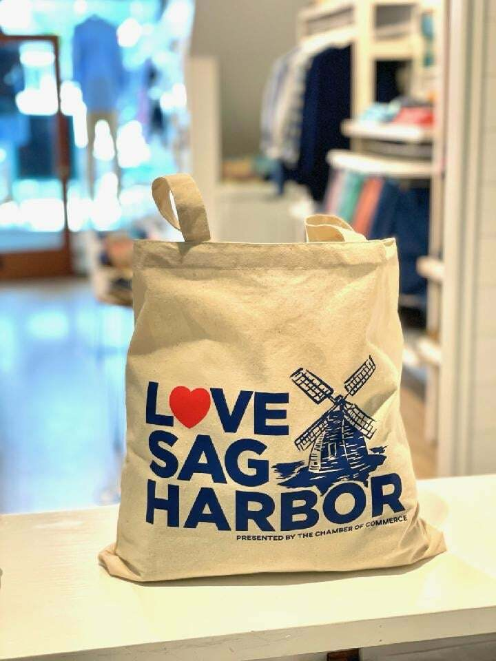 """The """"LOVE Sag Harbor""""tote bag is available at participating Sag Harbor Chamber of Commerce member shops and restaurants this summer."""