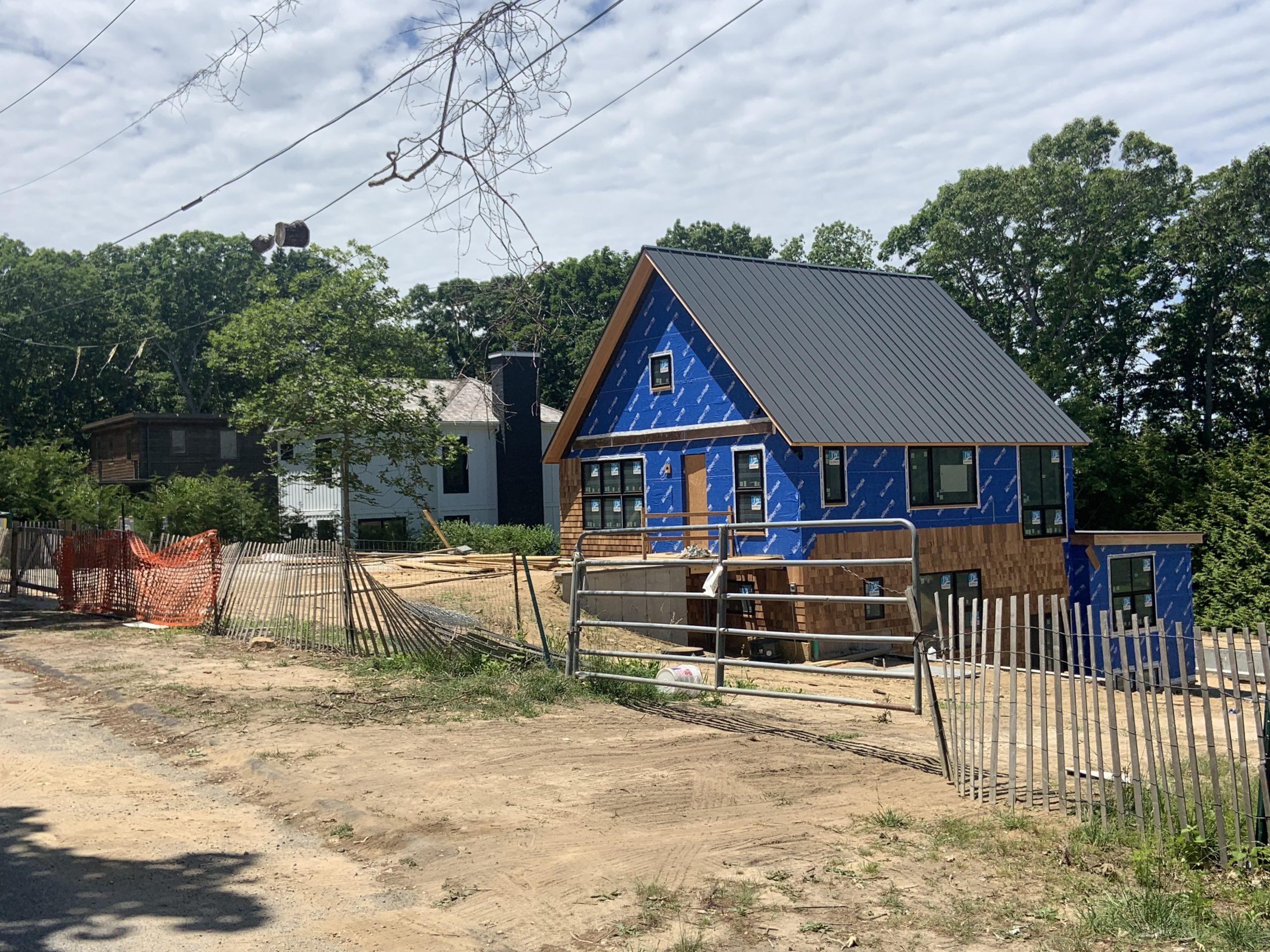 New construction on Gull Rock Road in the Sag Harbor Hills neighborhood of Sag Harbor. STEPHEN J. KOTZ
