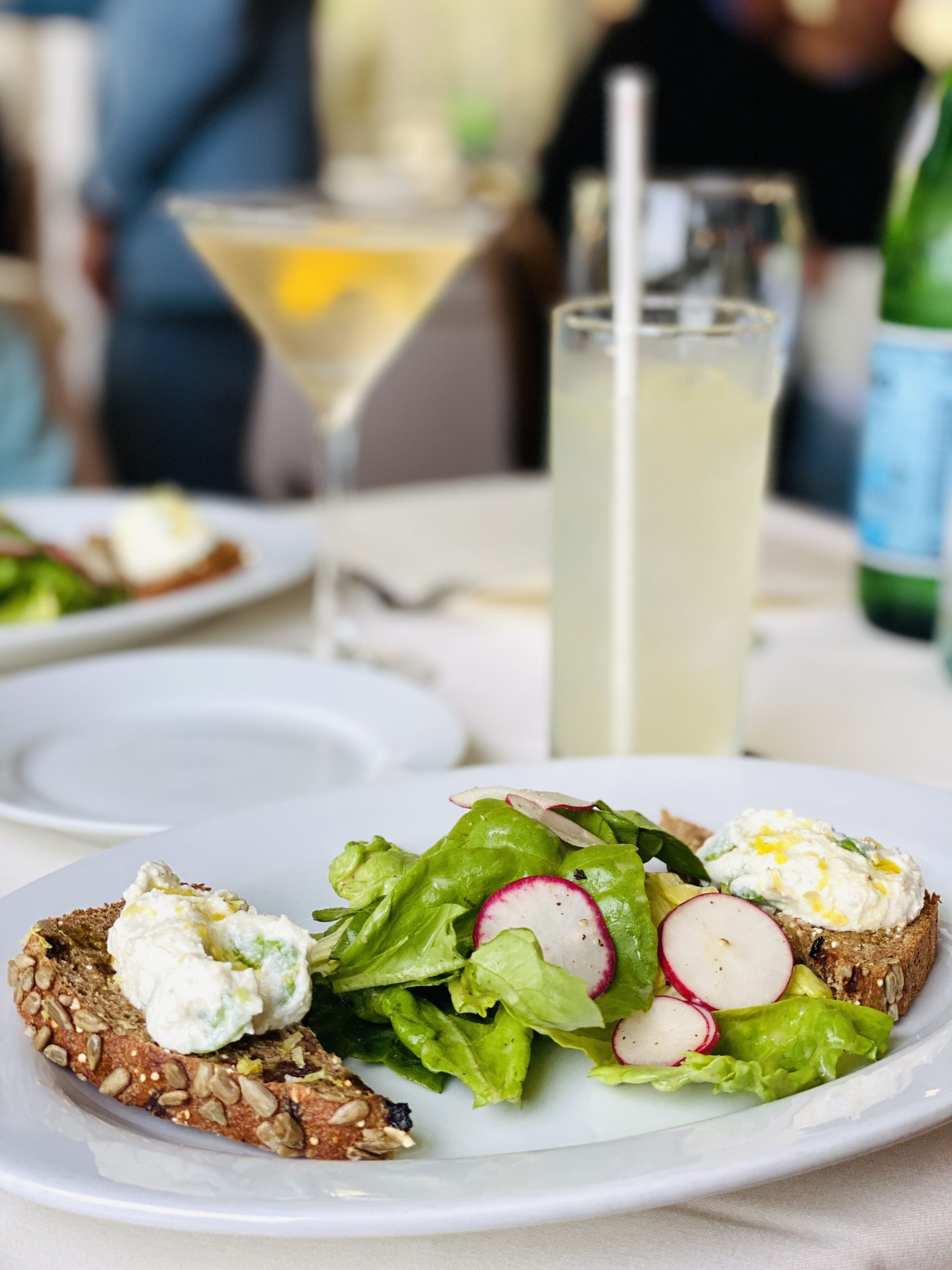 Sweet garlic ricotta with fava beans, butter lettuce and spelt bread created by chef Marc Murphy, guest chef at the Old Stove Pub on June 1.