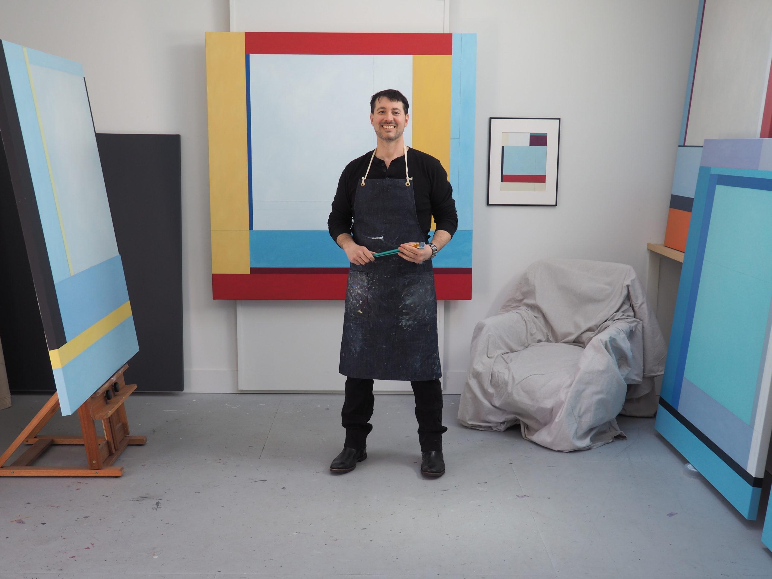 Artist Chris Kelly at work in the studio.