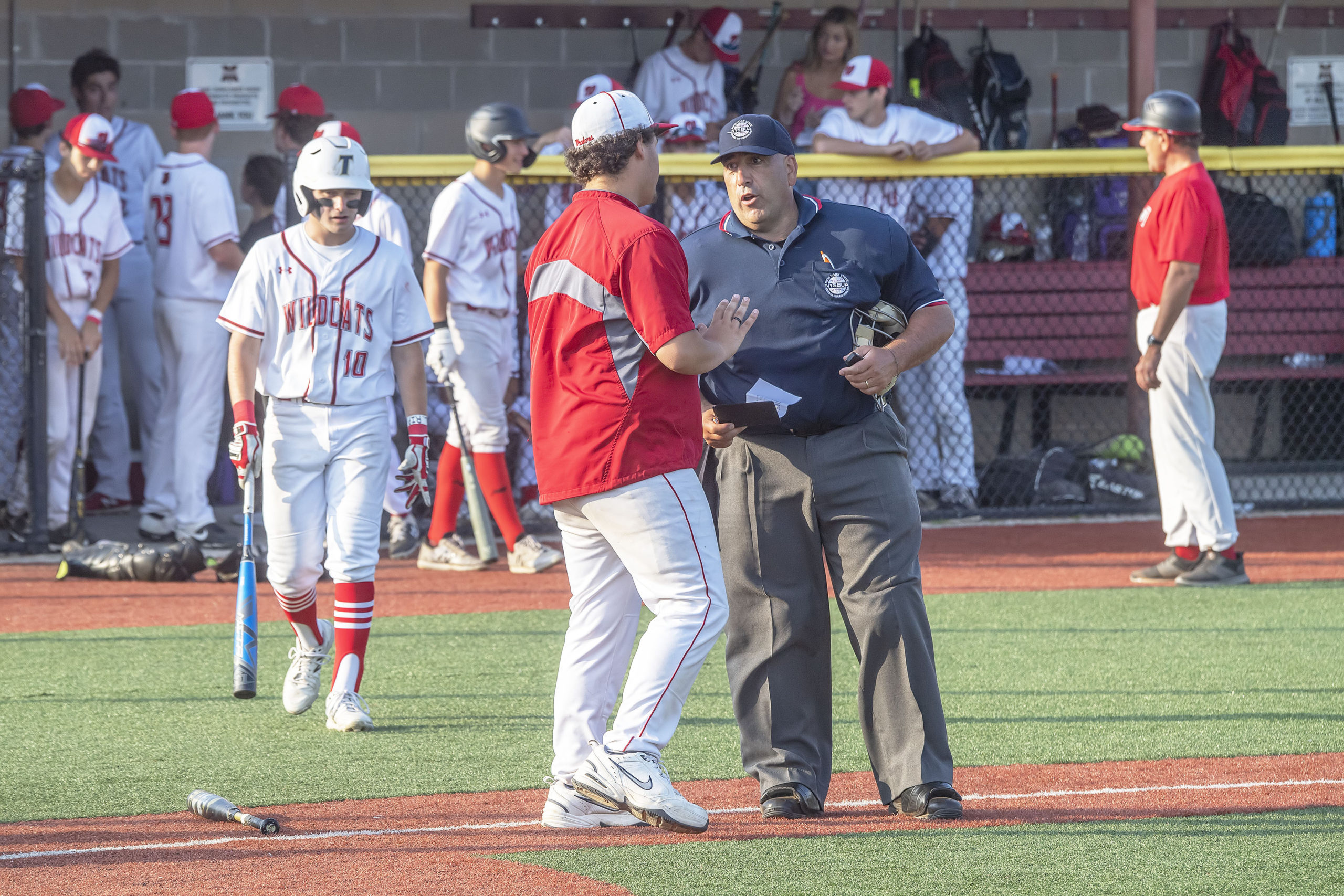 Pierson coach Tyler LaBorne talks with the home plate umpire regarding the ejection of a Wheatley player.