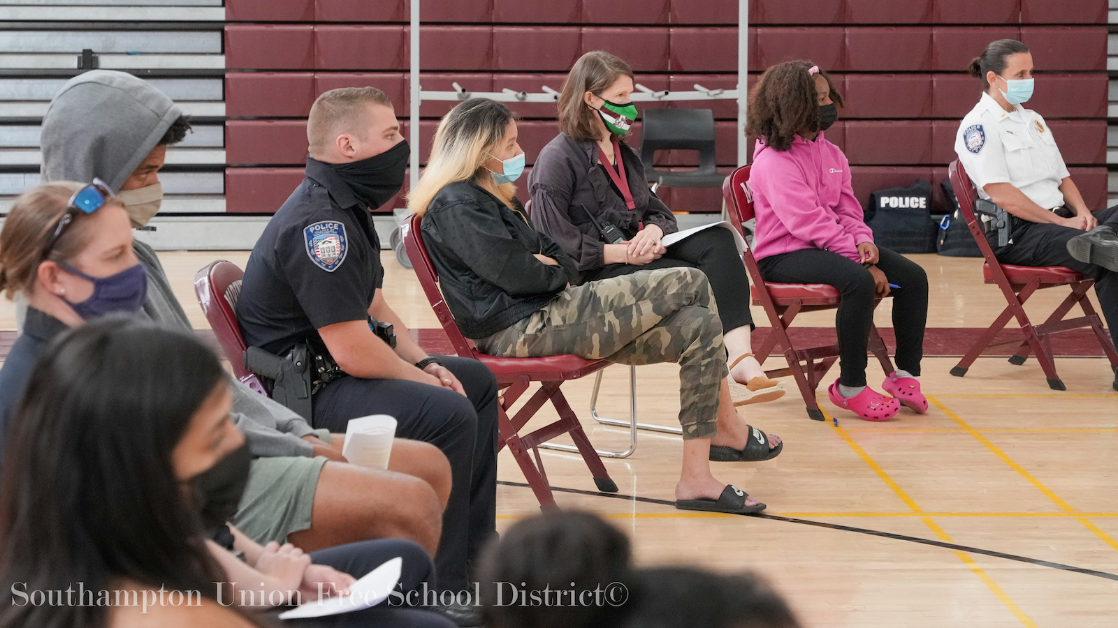 Southampton High School students recently had the opportunity to sit down and speak openly with officers from the Southampton Village Police Department.