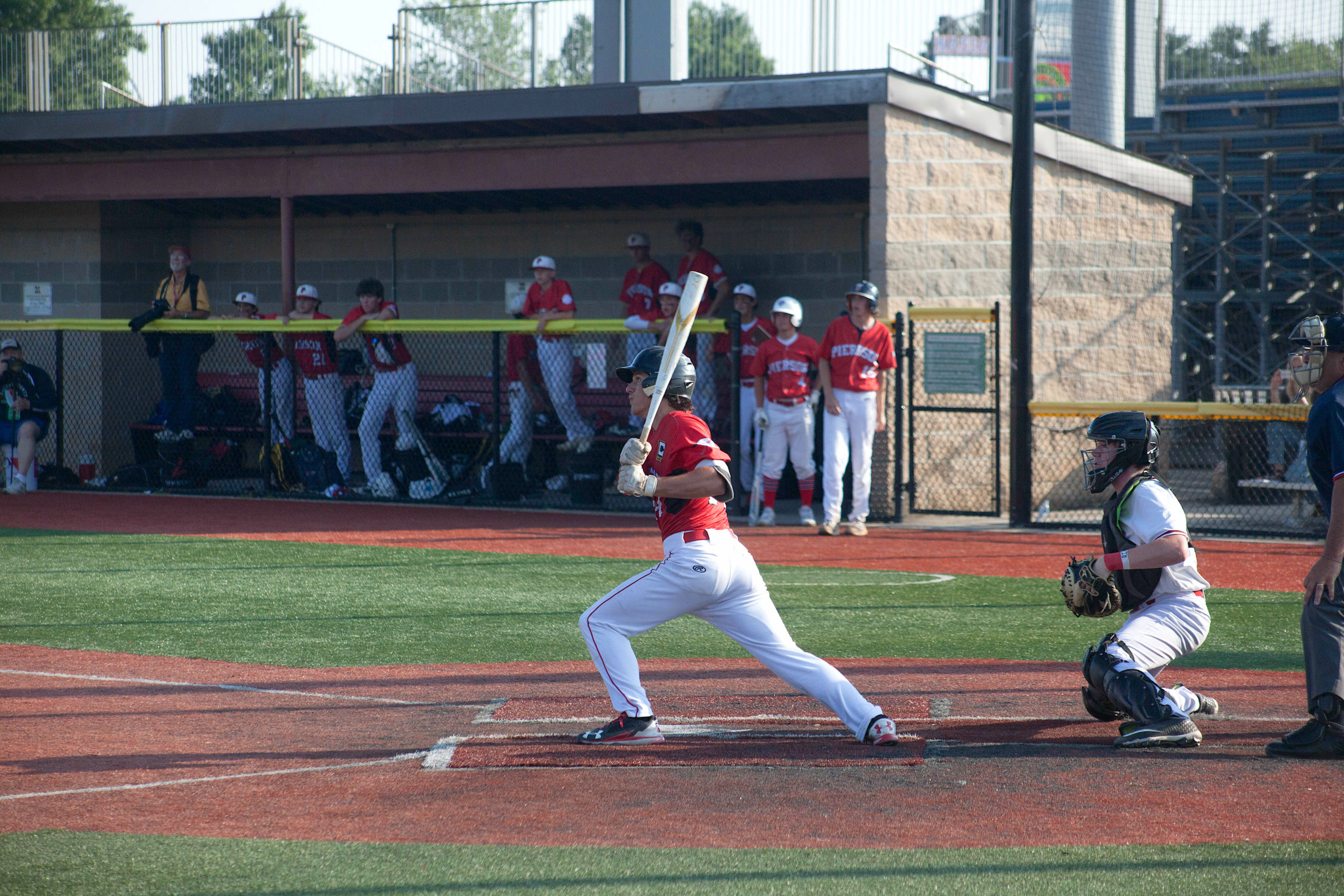 Pierson senior Tucker Schiavoni belts an RBI-single in the Long Island Championship game at Mitchel Athletic Complex in Uniondale.
