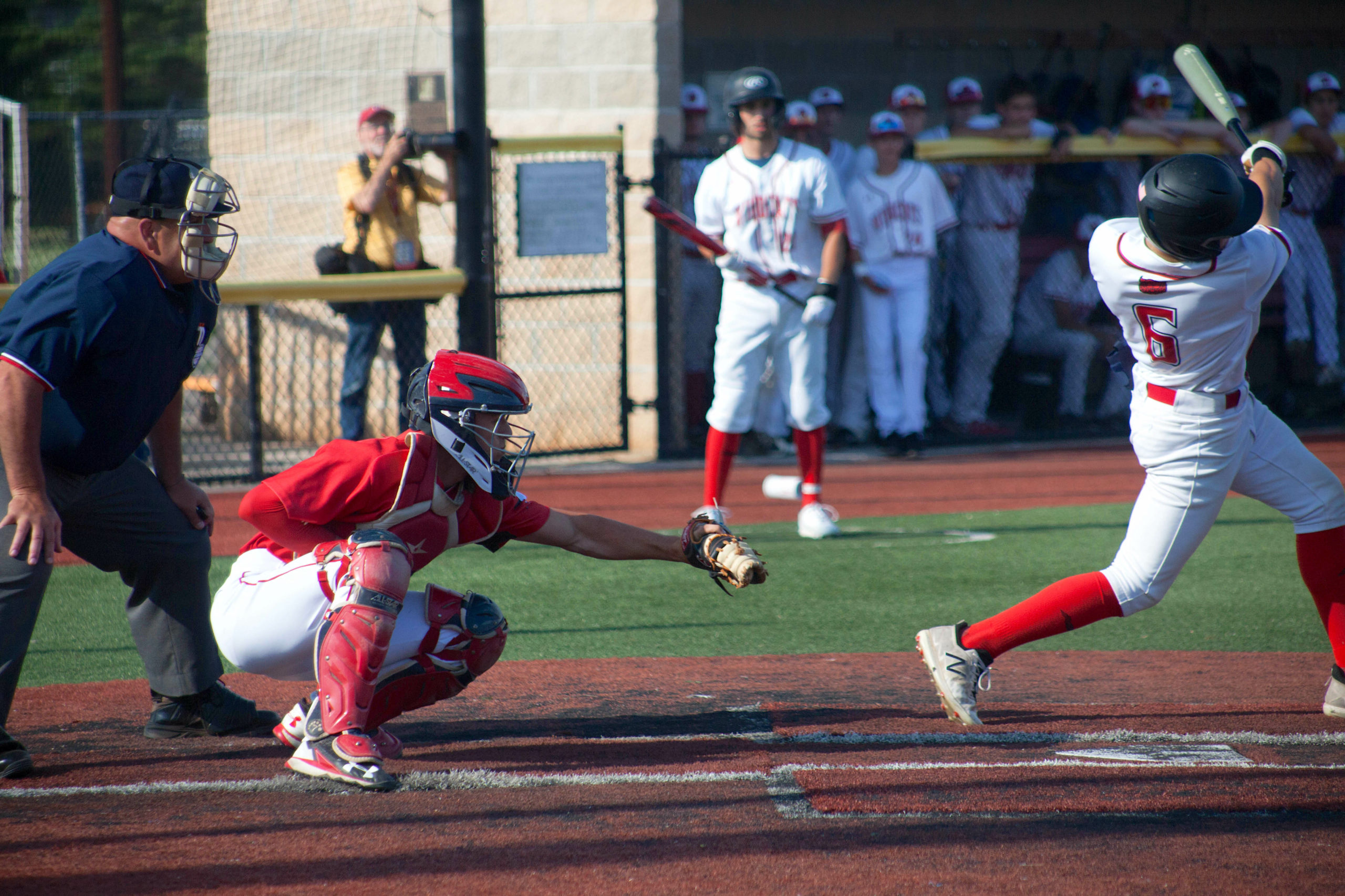 Pierson senior Tucker Schiavoni threw out two Wheatley runners attempting to steal second base in the Long Island Championship game at the Mitchel Athletic Complex in Uniondale.