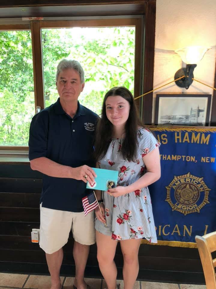 Taylor Mathews, a Westhampton Beach High School senior from East Moriches, is the winner of the 2021 Arthur Ellis Hamm American Legion Post 834 scholarship. The honor roll student, who is on the high school cheerleading squad and enjoys fishing in her spare time, was presented the award by her grandfather, Michael Berdinka, Finance Officer of Post 834. In the fall, Taylor plans to attend Stony Brook University to study Marine Vertebrate Biology.