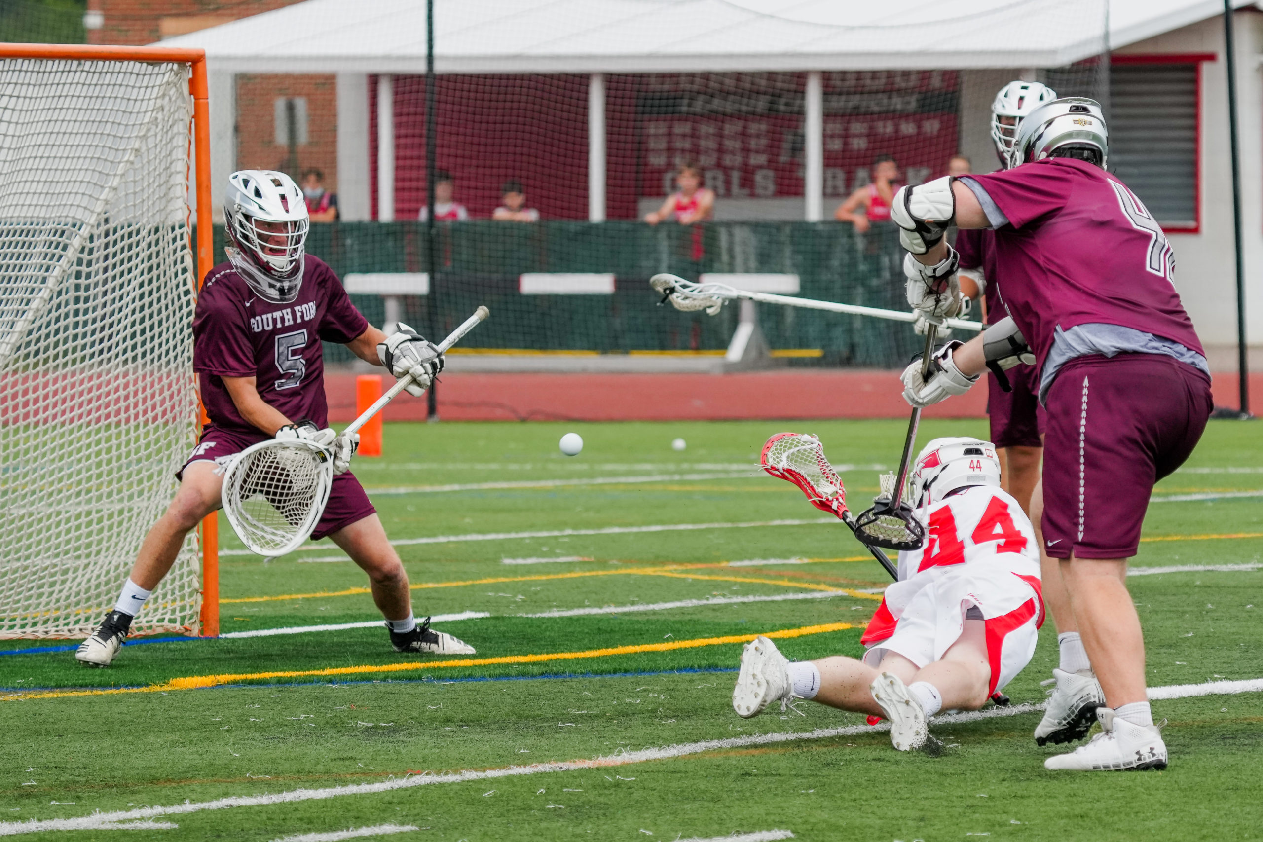Pierson senior goalie Hudson Brindle gets ready to stop a shot from a Connetquot player.