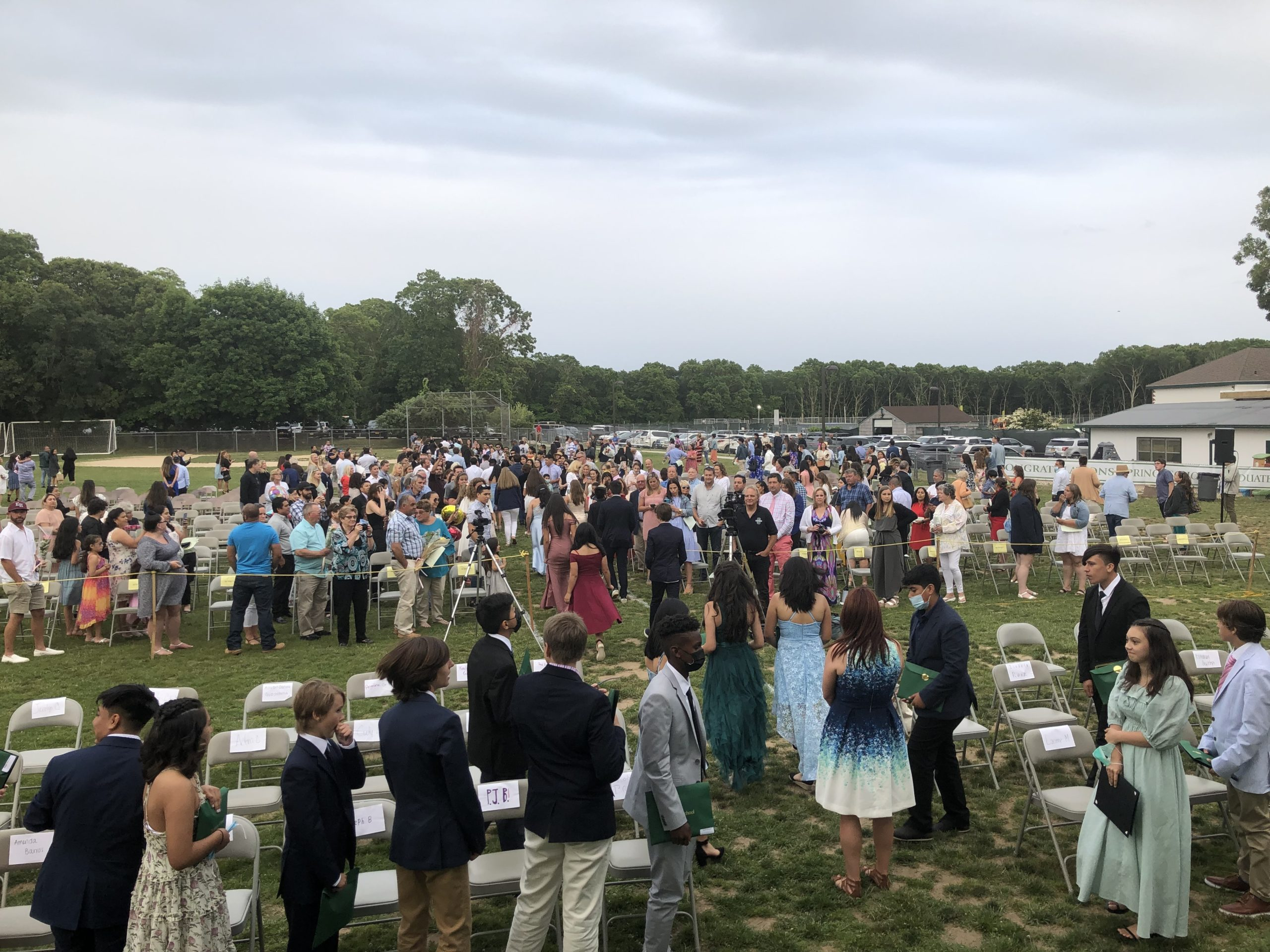 Students file out of eighth grade graduation on Saturday, June 26. The eighth grade were treated to a graduation ceremony on school grounds as well as an evening banquet.