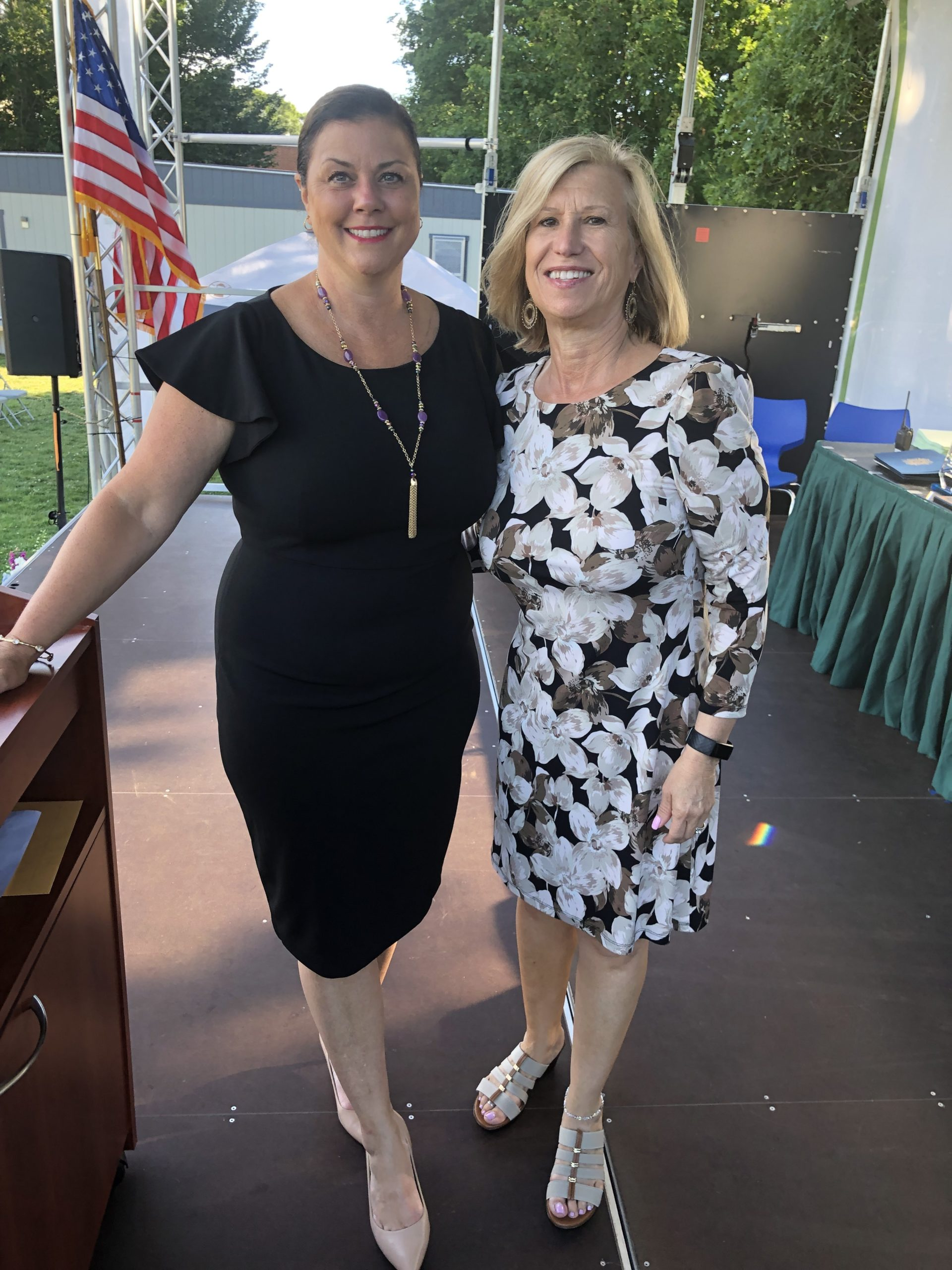 Springs School Principal Christine Cleary and Superintendent Deborah Winter at the ceremony.
