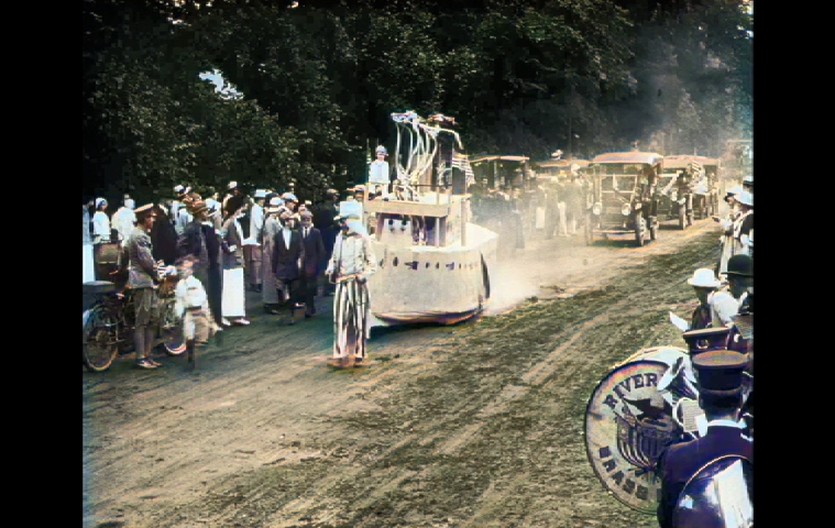 Uncle Sam and Riverhead Brass Band in Pathé News newsreel of East Hampton's Fourth of July parade in 1915.