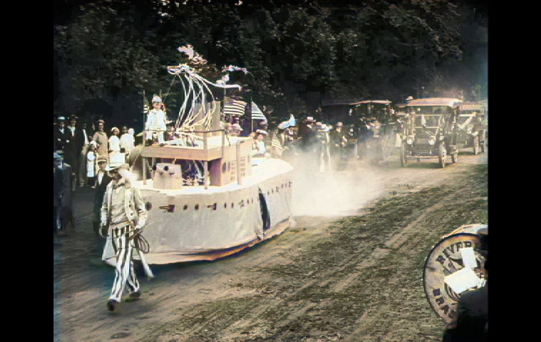 Uncle Sam tugboat float in a newsreel of East Hampton's 1915 Fourth of July parade.