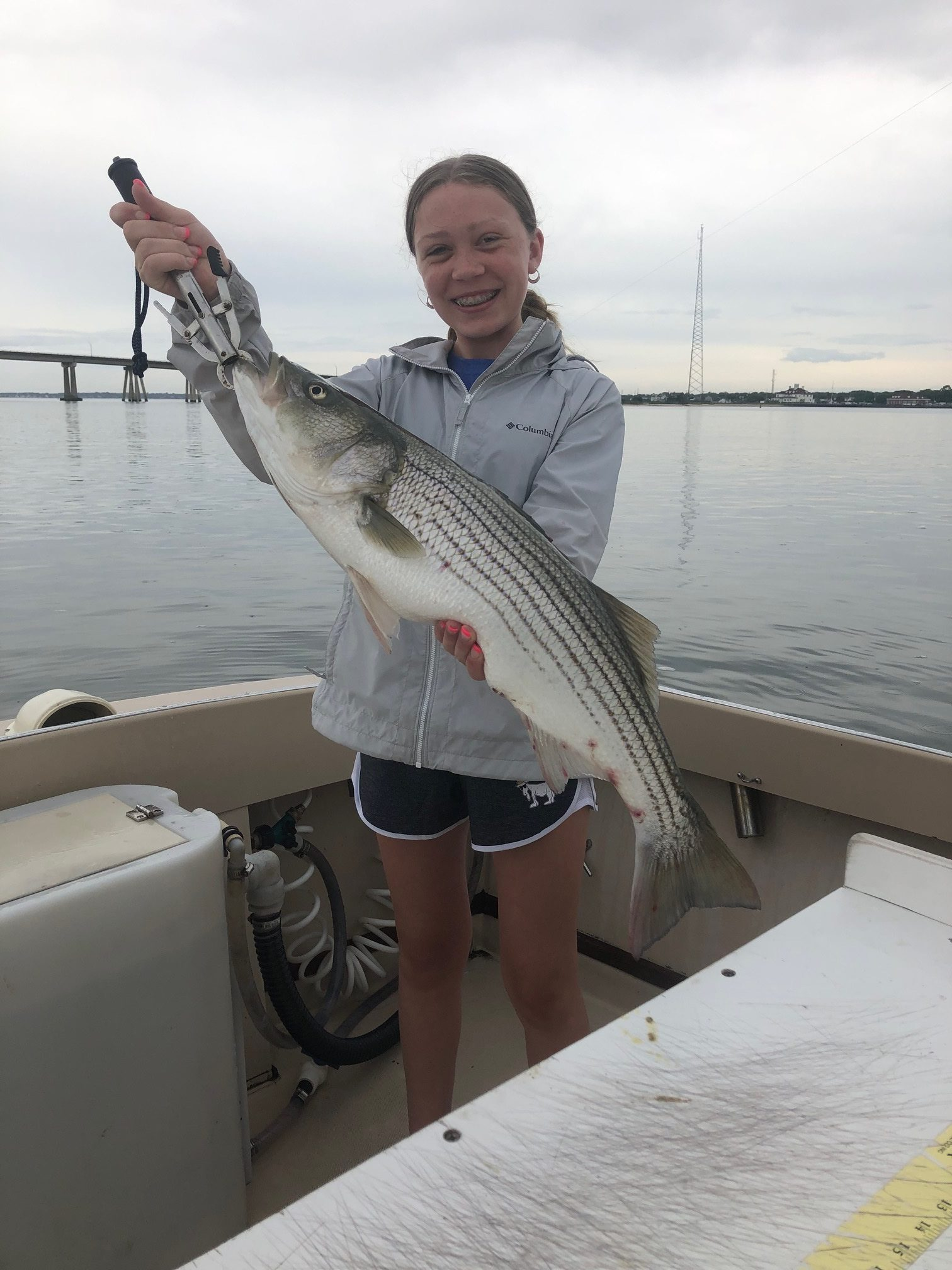 Charleigh Ries caught this nice 33-inch striped bass while fishing with her dad, Capt. Brad Ries of Someday Came Charters, in Shinnecock Bay recently.