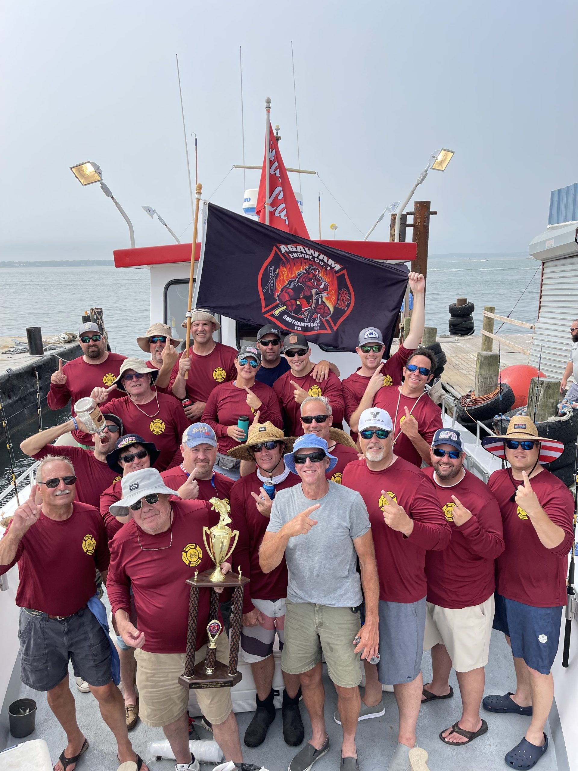 The members of the Southampton Fire Department's Agawam Engine Company spent a day fishing aboard the Hampton Lady last week.