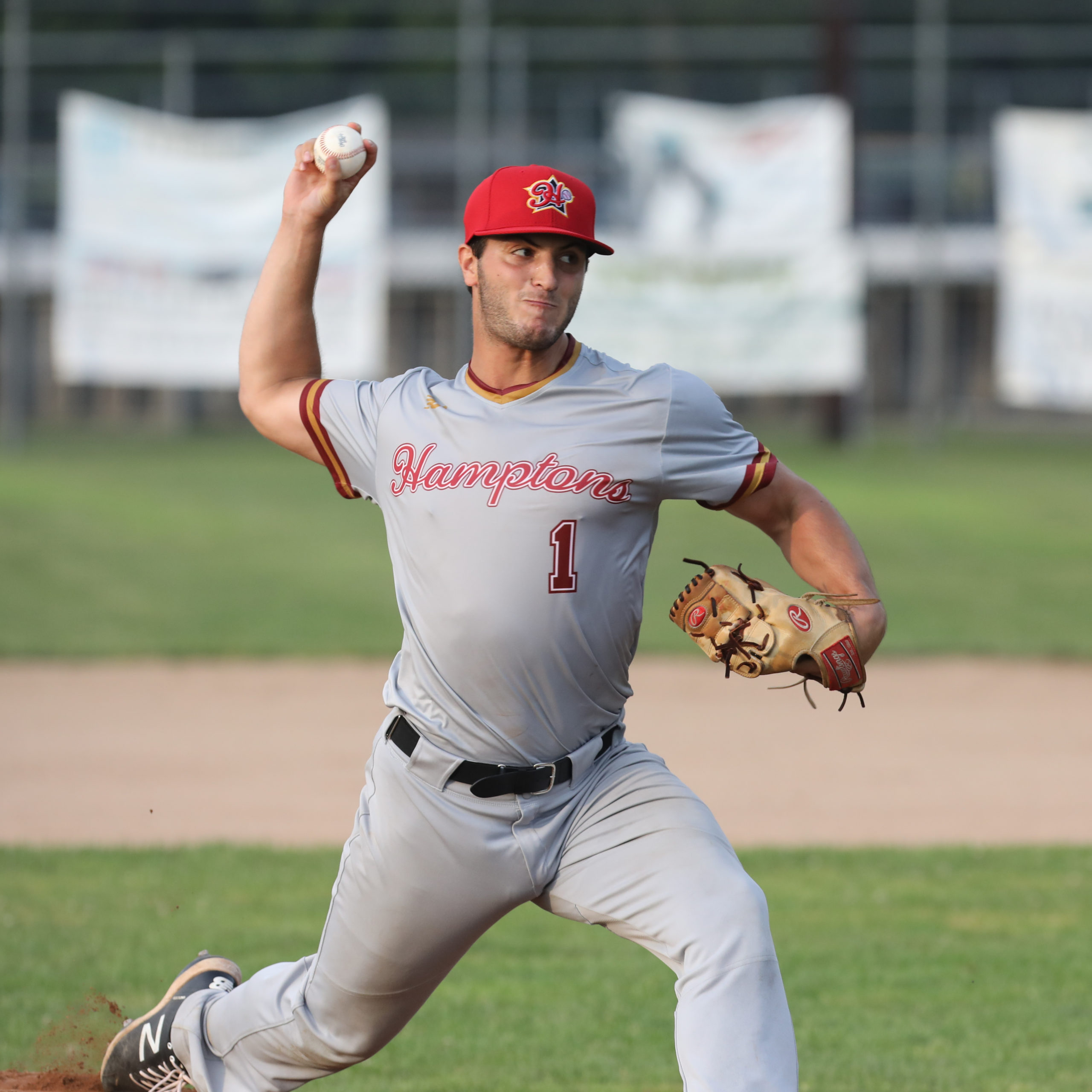 Westhampton Aviator Nic Luc (Adelphi) started on the mound for the Red Team All-Stars and struck out three of the four batters he faced.