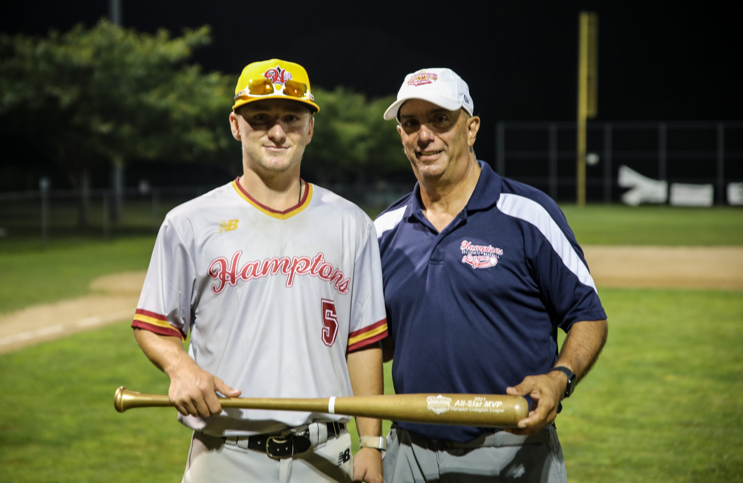 Chad Pike (Suffolk CC), left, with HCBL Commissioner Jim Pereira after being named MVP of the HCBL All-Star Game.
