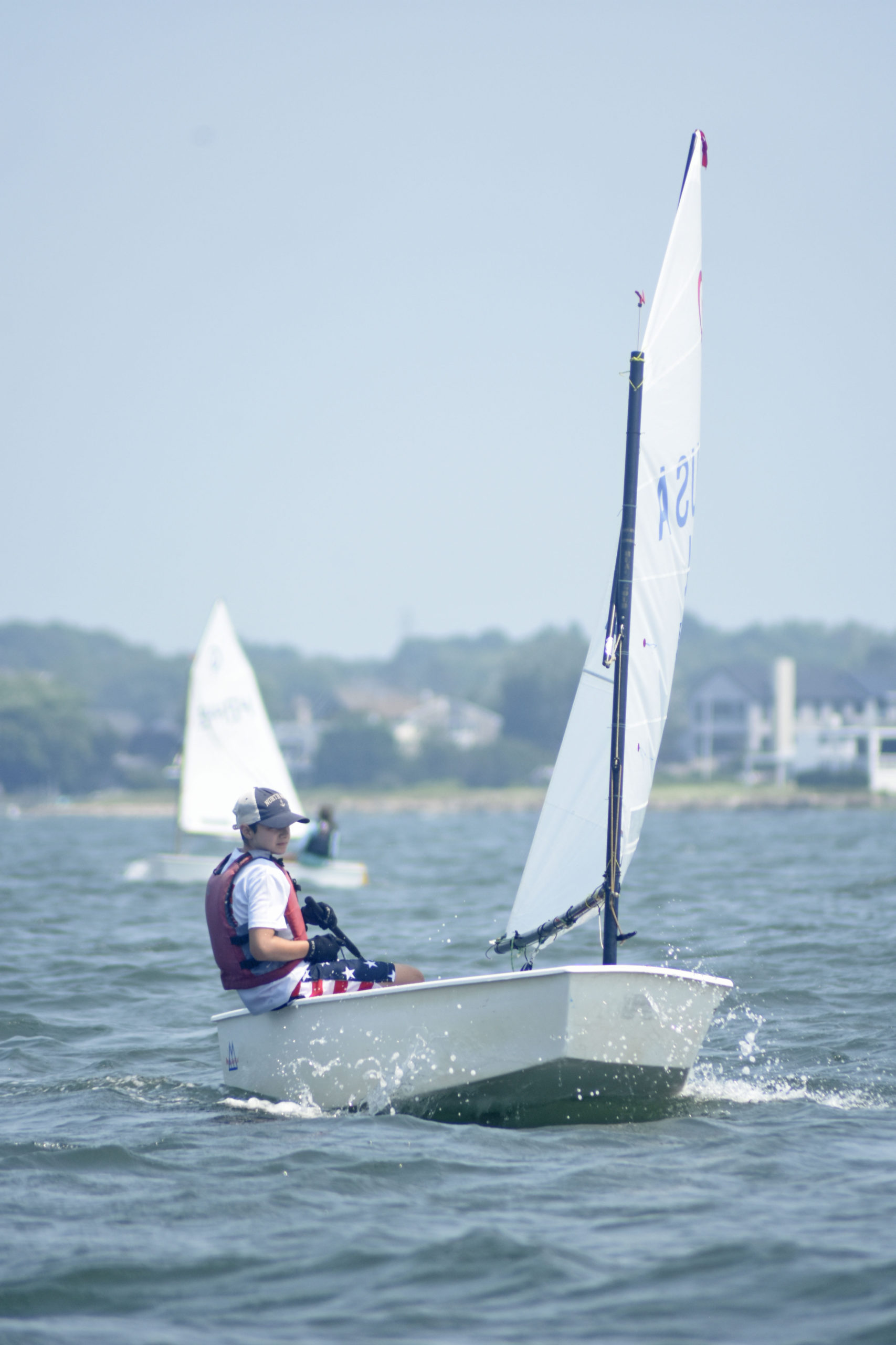 Everett Lehnert of Old Cove Yacht Club in New Suffolk, who went on to win the blue fleet.