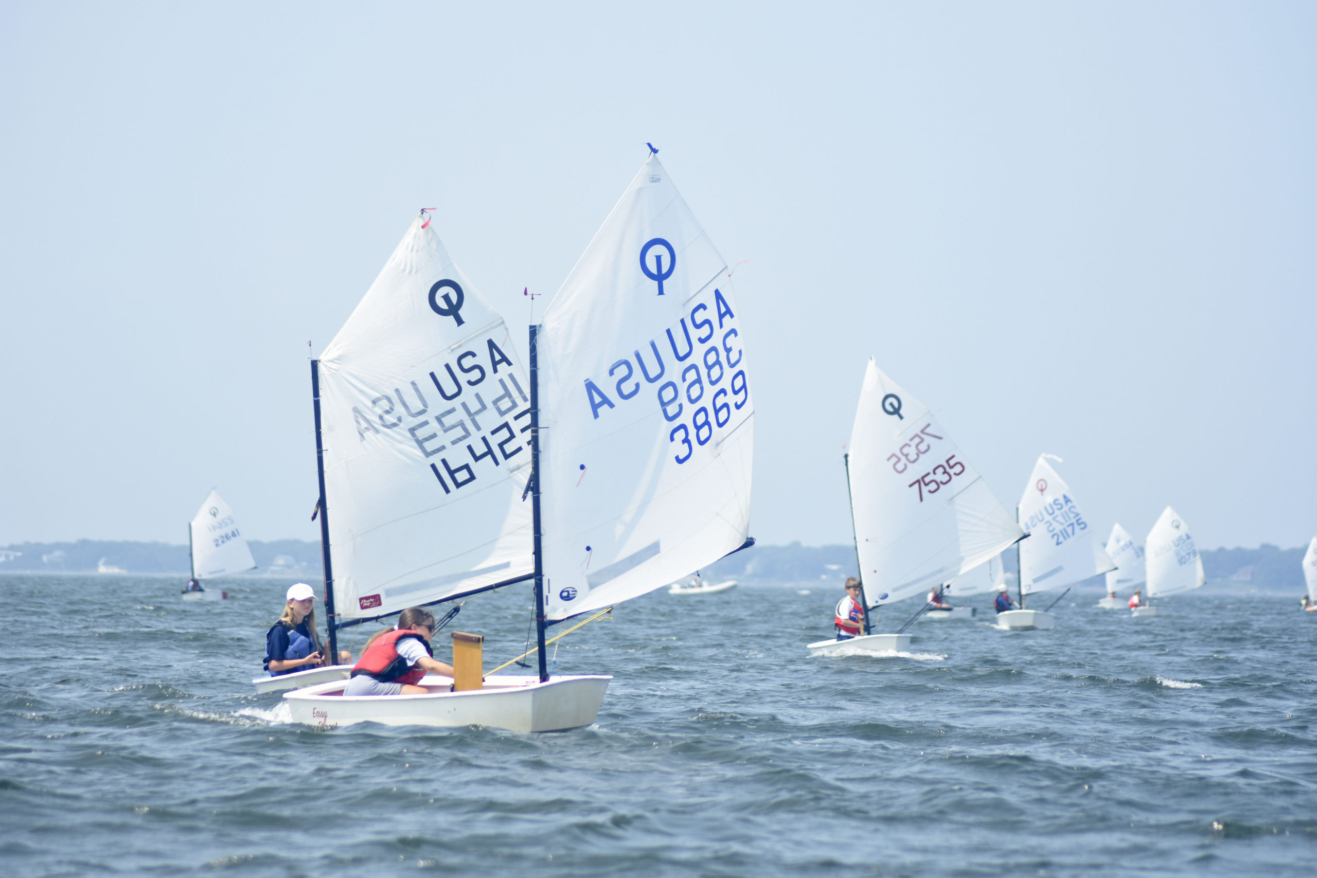 Bridget Spicer of Southold Yacht Club leads a pack of boats.
