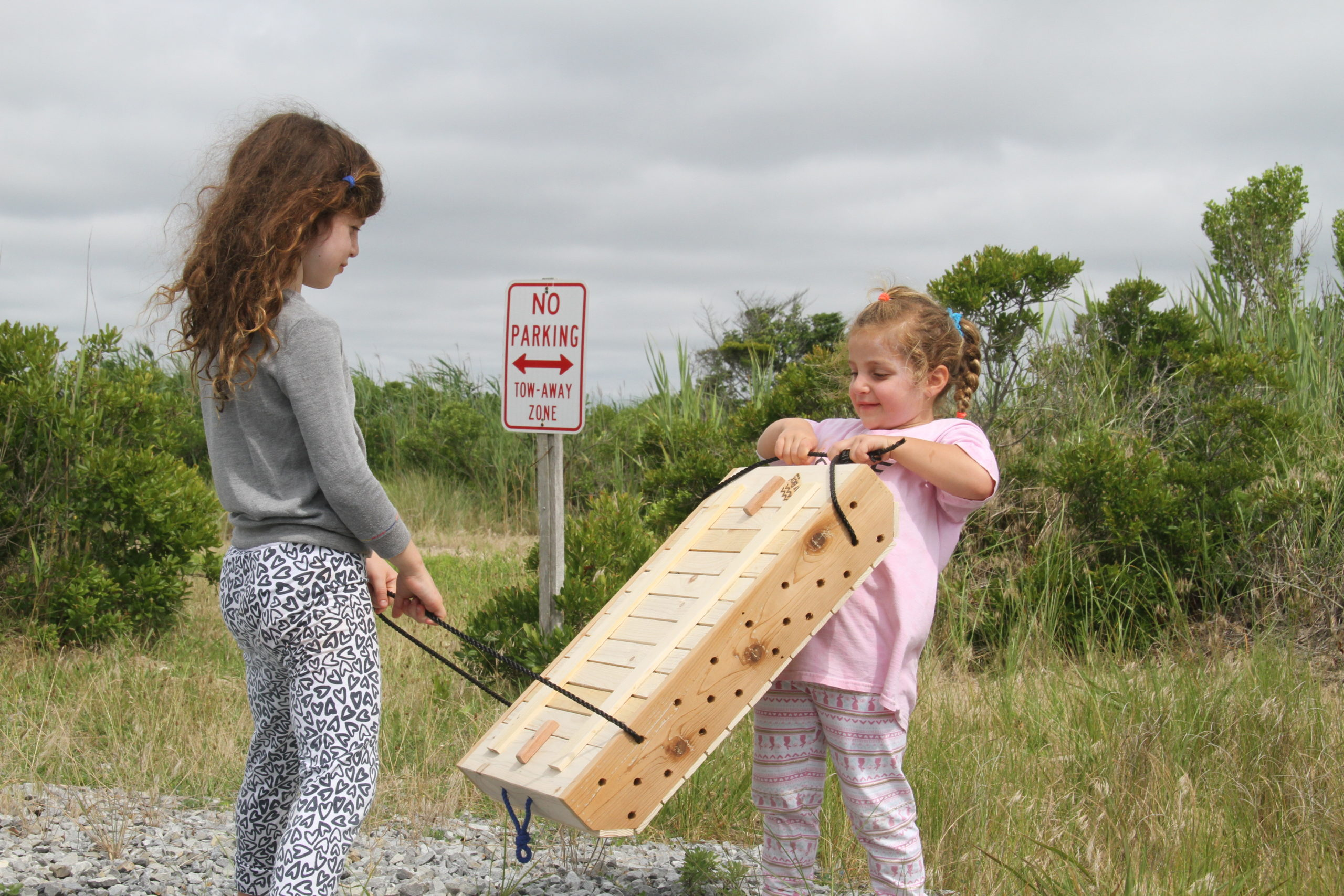 Youngsters with a Bay Box at Saturday's Moriches Bay Project outing.