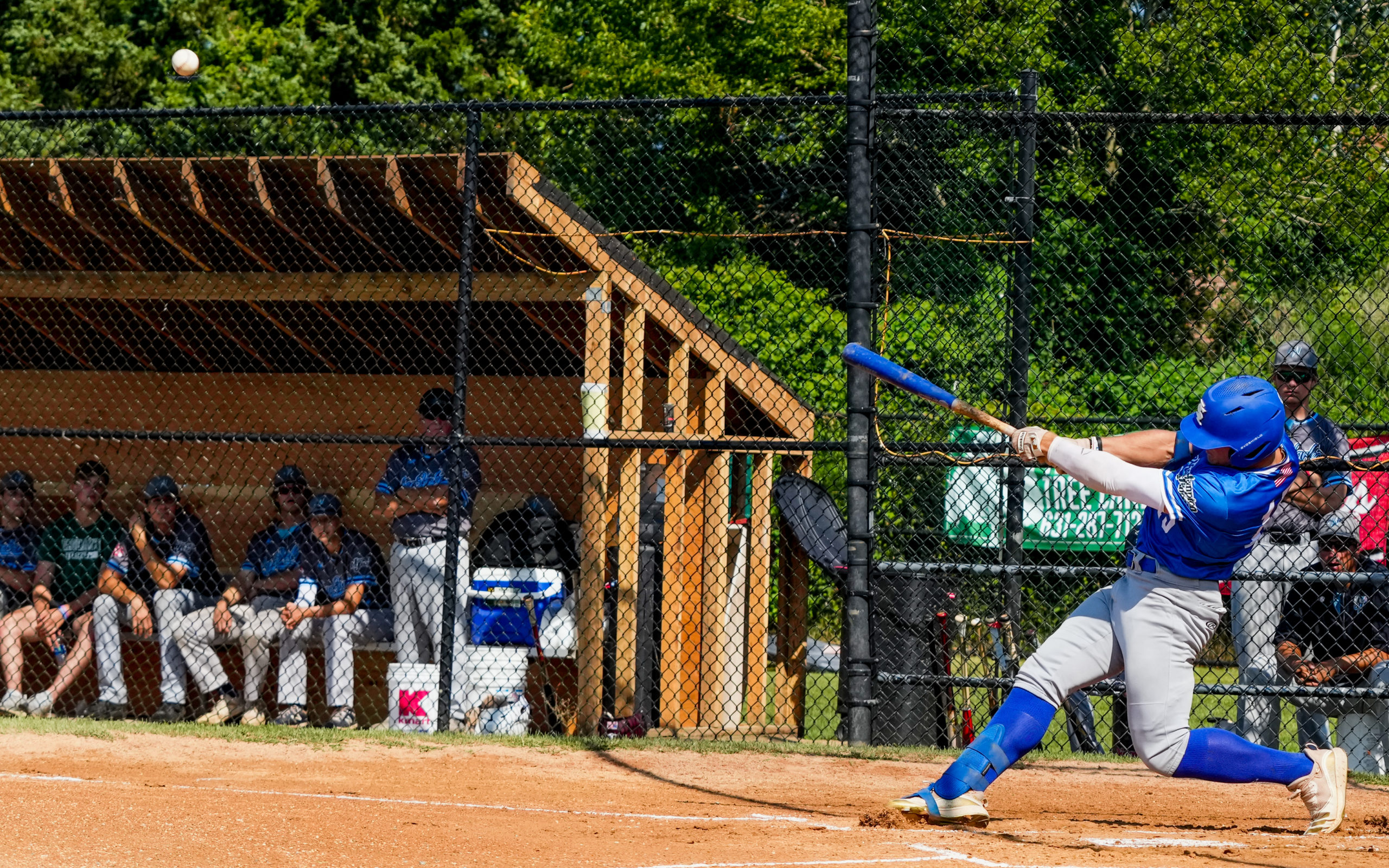 Southampton's Parker Stinson (Indiana State) sends a pitch into the air.